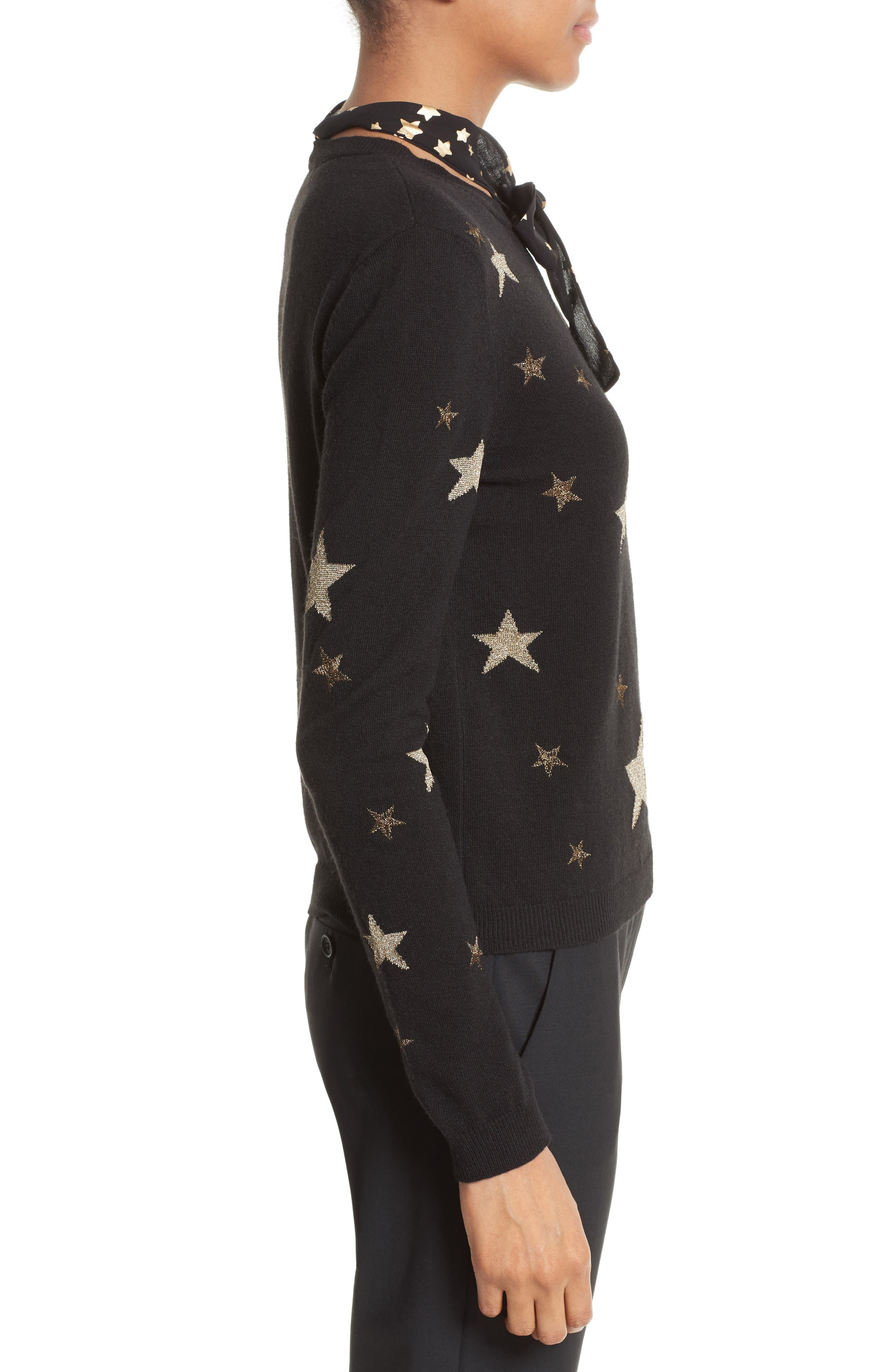 Tie Neck Star Sweater,                             Alternate thumbnail 3, color,                             001