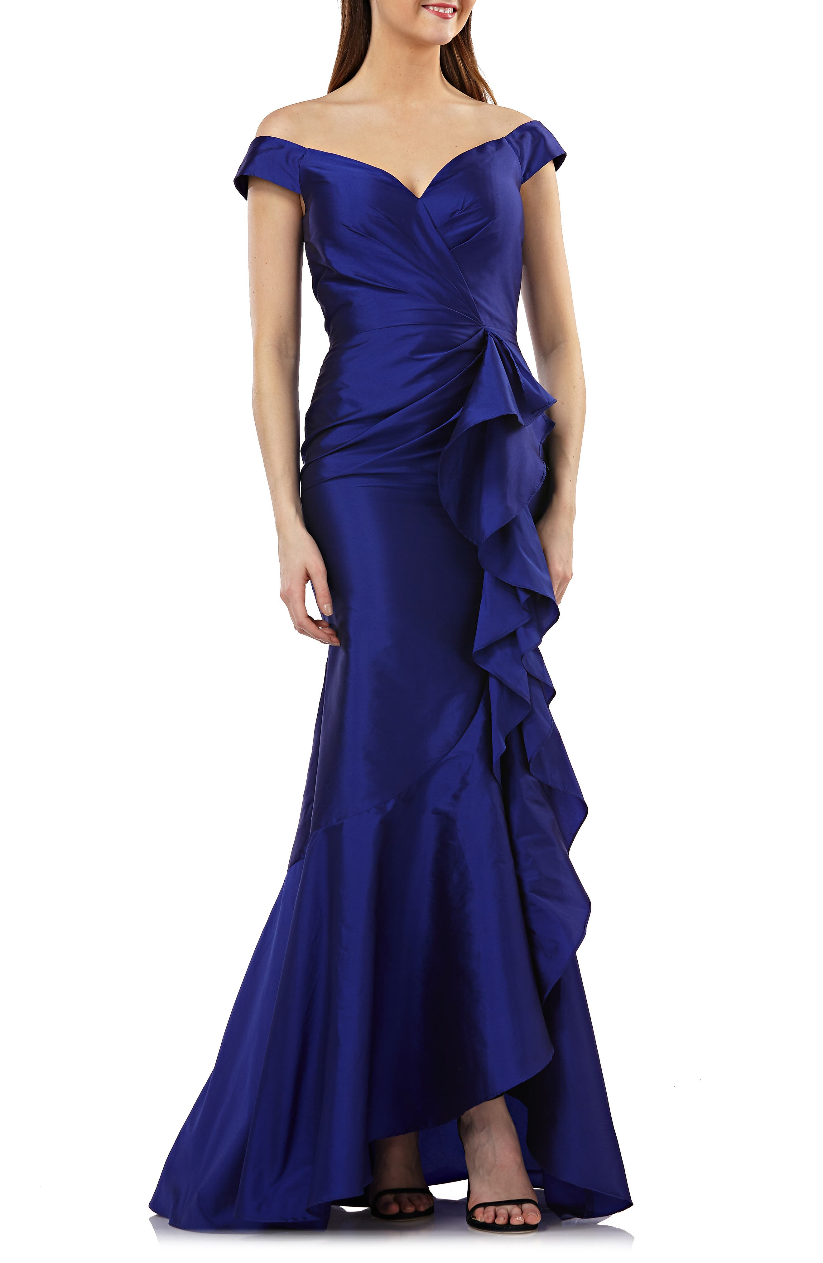 Carmen Marco Valvo Infusion Taffeta Off The Shoulder Evening Dress, Blue