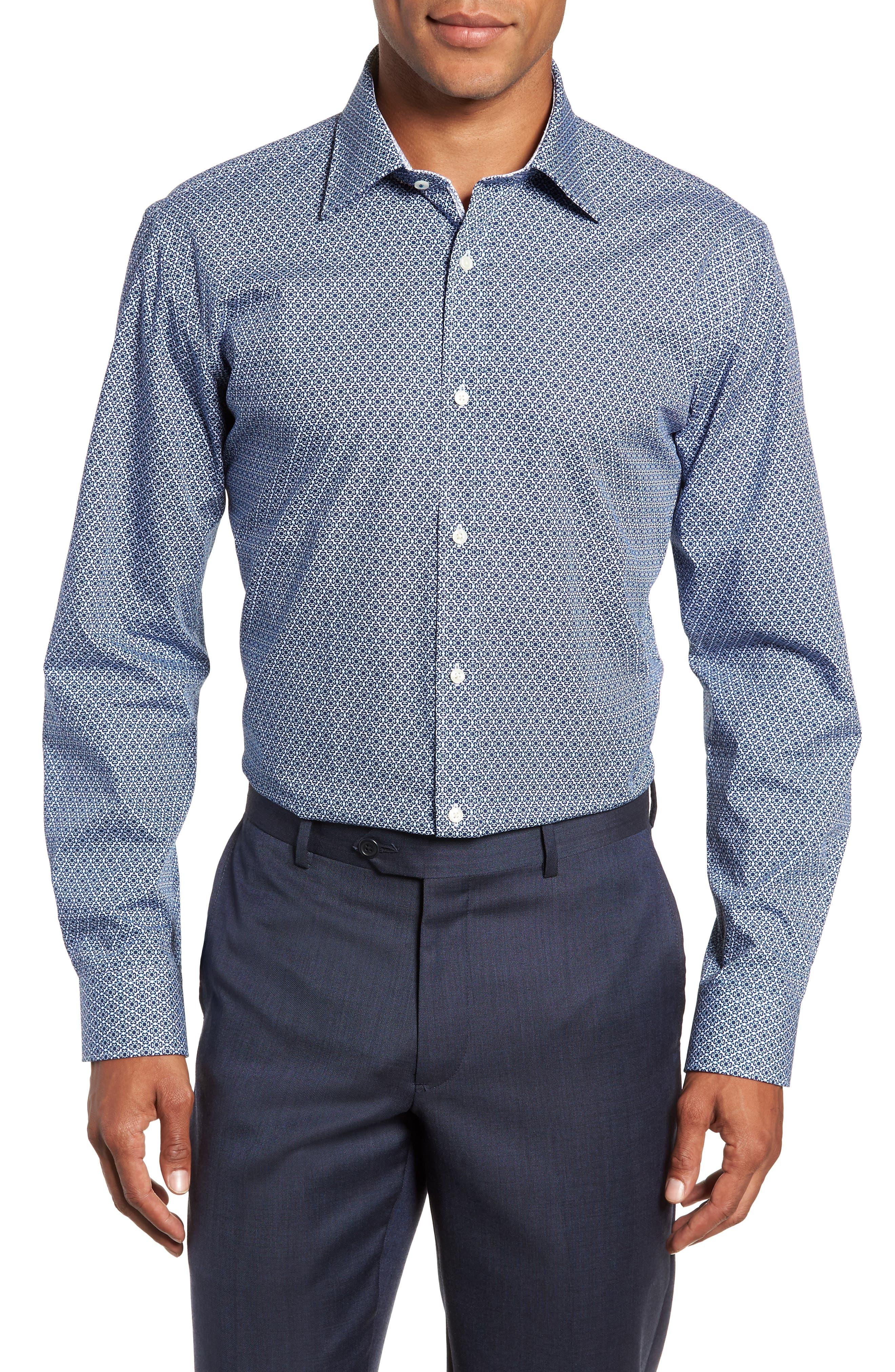 Slestmi Slim Fit Print Dress Shirt,                         Main,                         color, BLUE