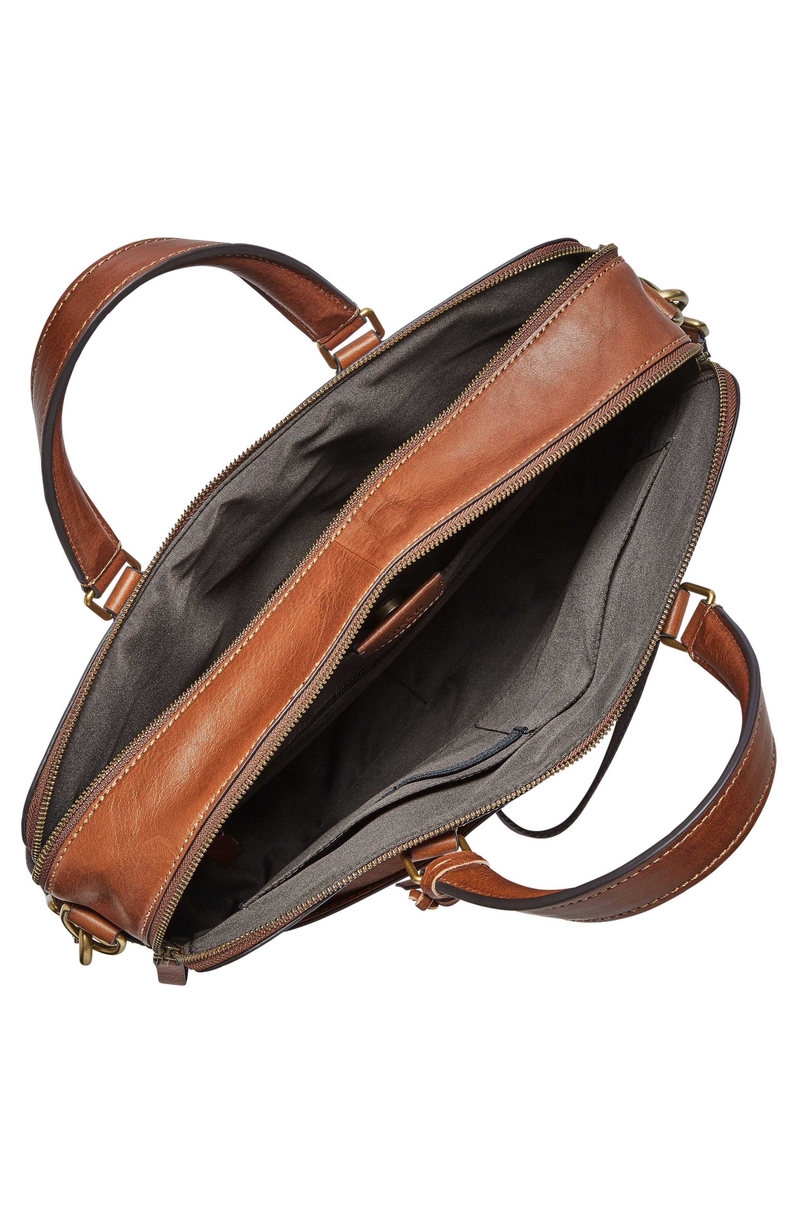 Defender Leather Briefcase,                             Alternate thumbnail 3, color,                             COGNAC