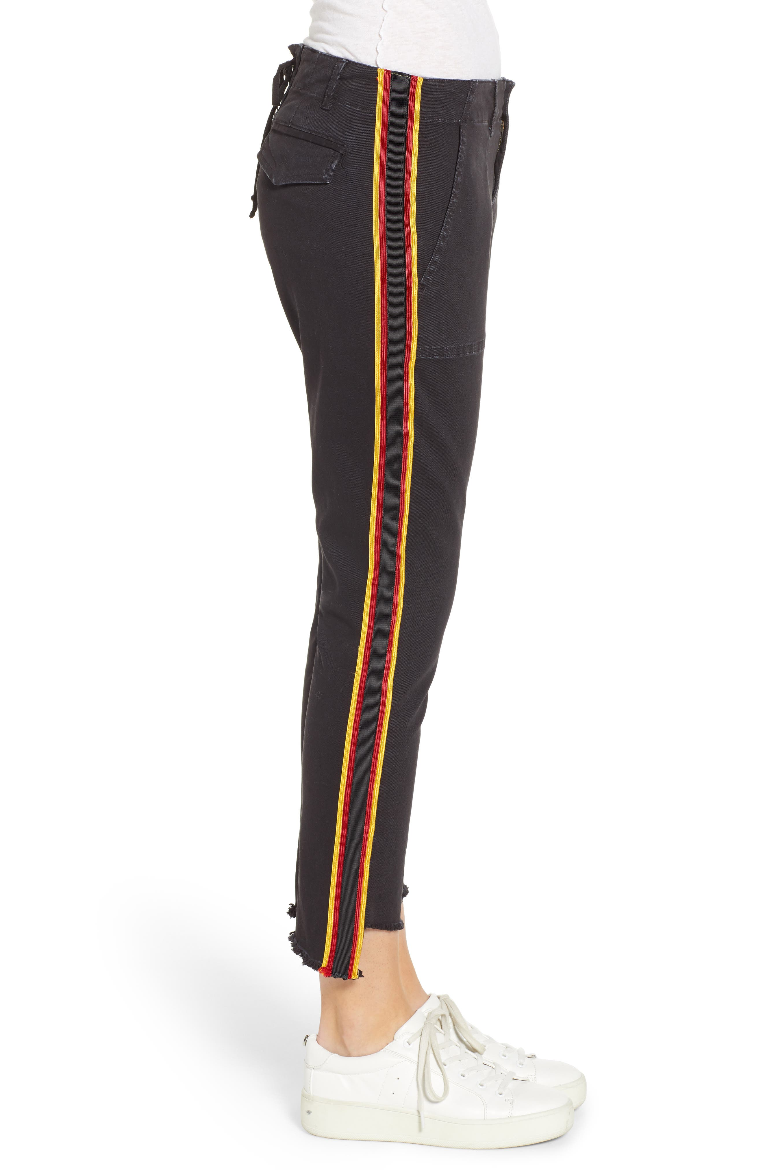 Uniform Stripe Step Hem Pants,                             Alternate thumbnail 3, color,                             VINTAGE BLACK