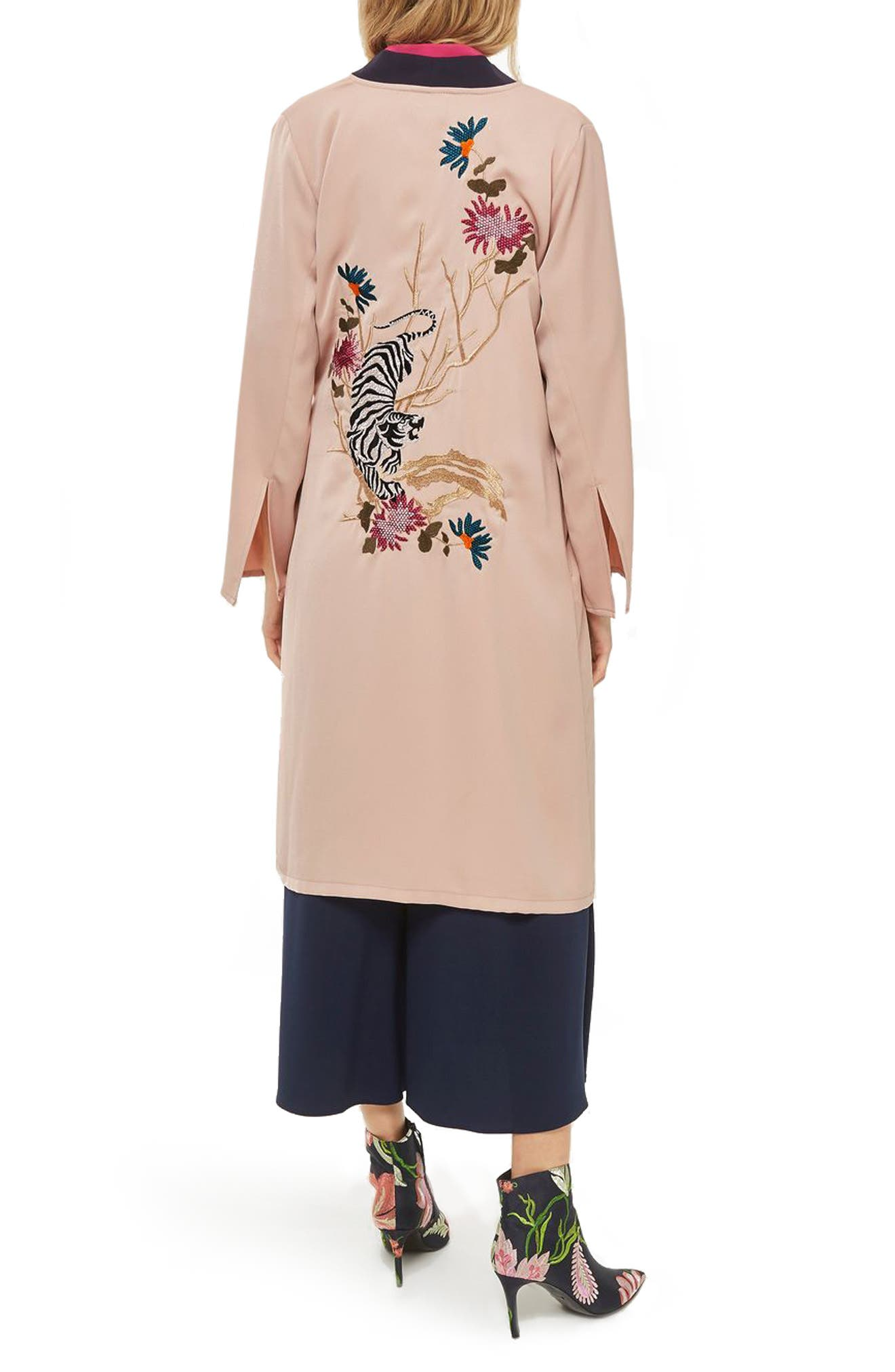 Tiger Embroidered Duster Coat,                             Alternate thumbnail 2, color,                             250