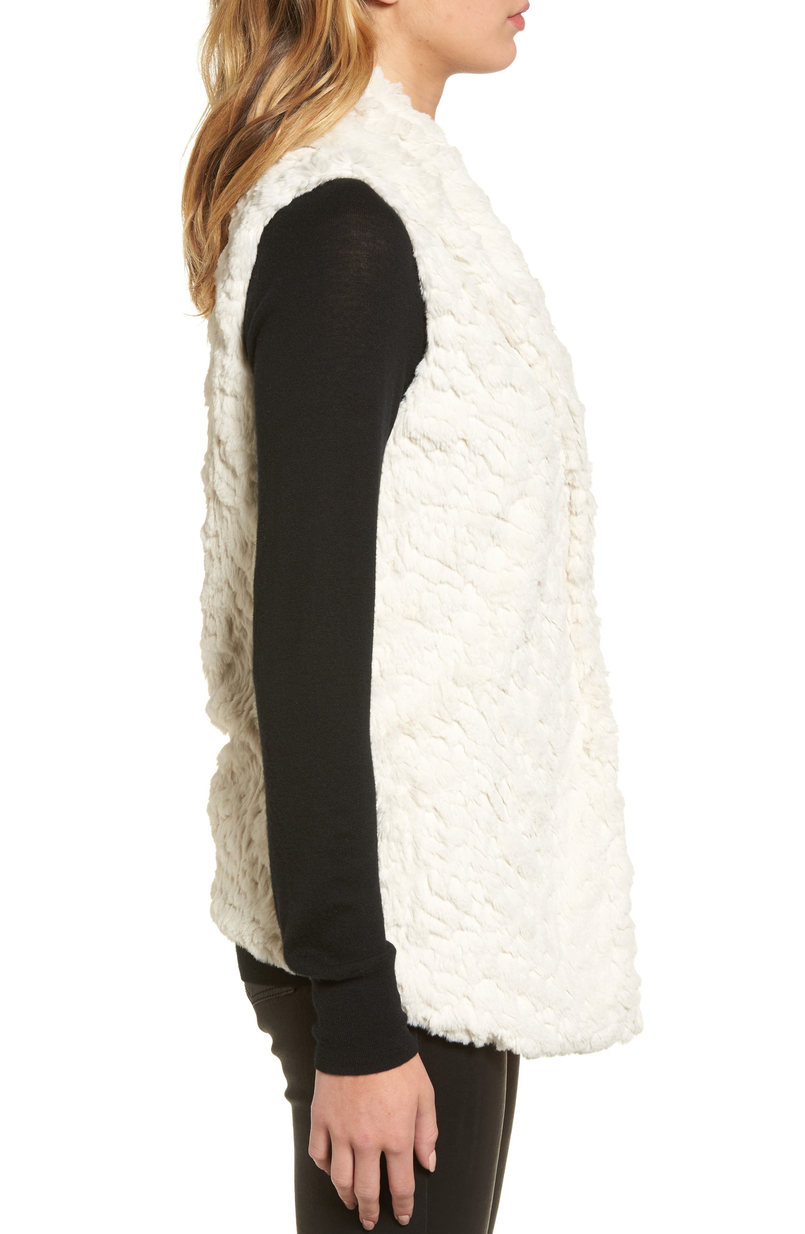 Silky Faux Fur Shawl Collar Vest,                             Alternate thumbnail 3, color,                             100