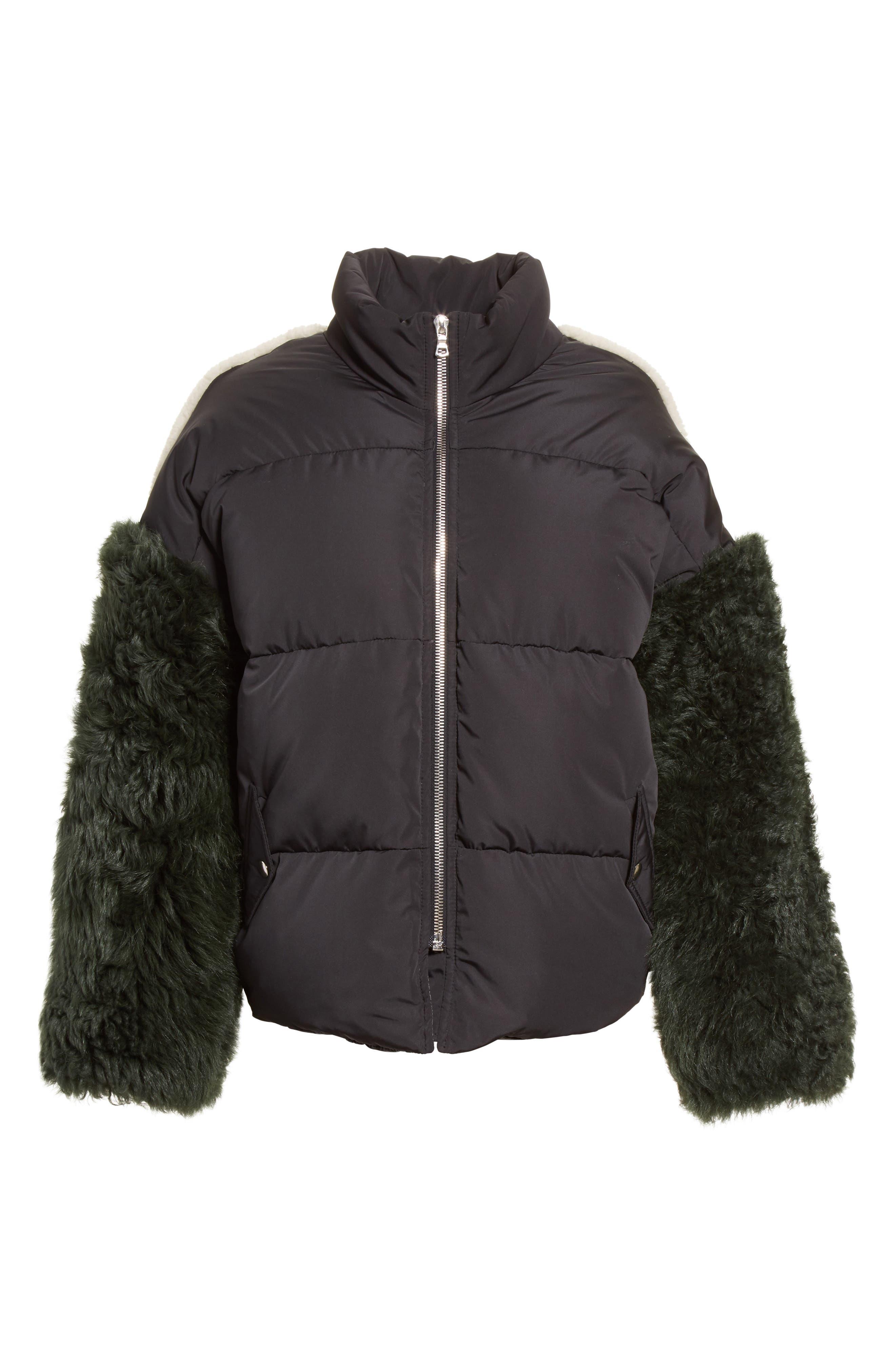 Eldridge Puffer Coat with Genuine Shearling Sleeves,                             Alternate thumbnail 5, color,                             001