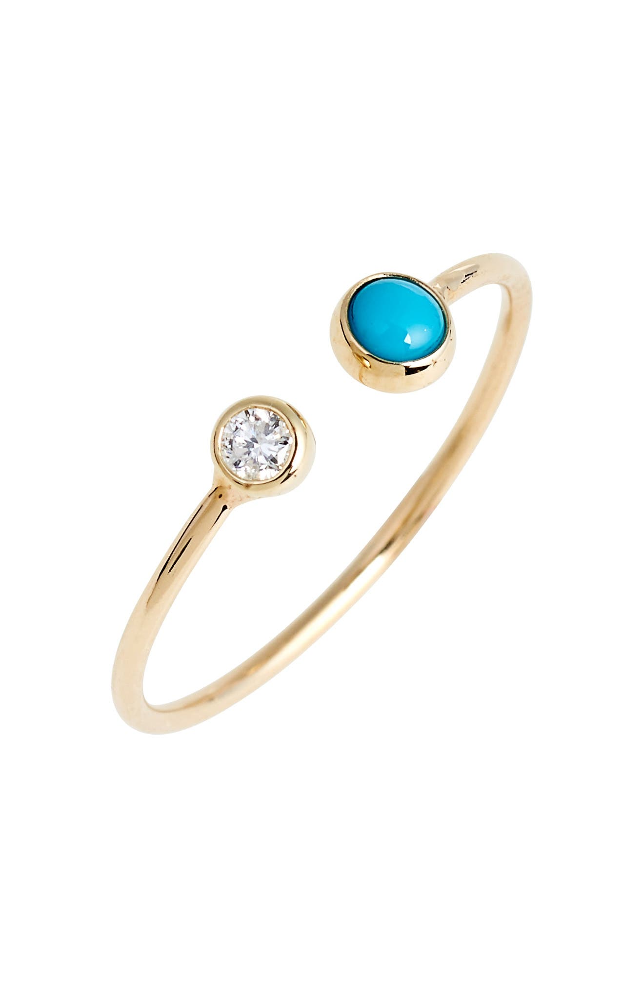 Diamond & Turquoise Open Stack Ring,                             Main thumbnail 1, color,                             YELLOW GOLD/ TURQUOISE