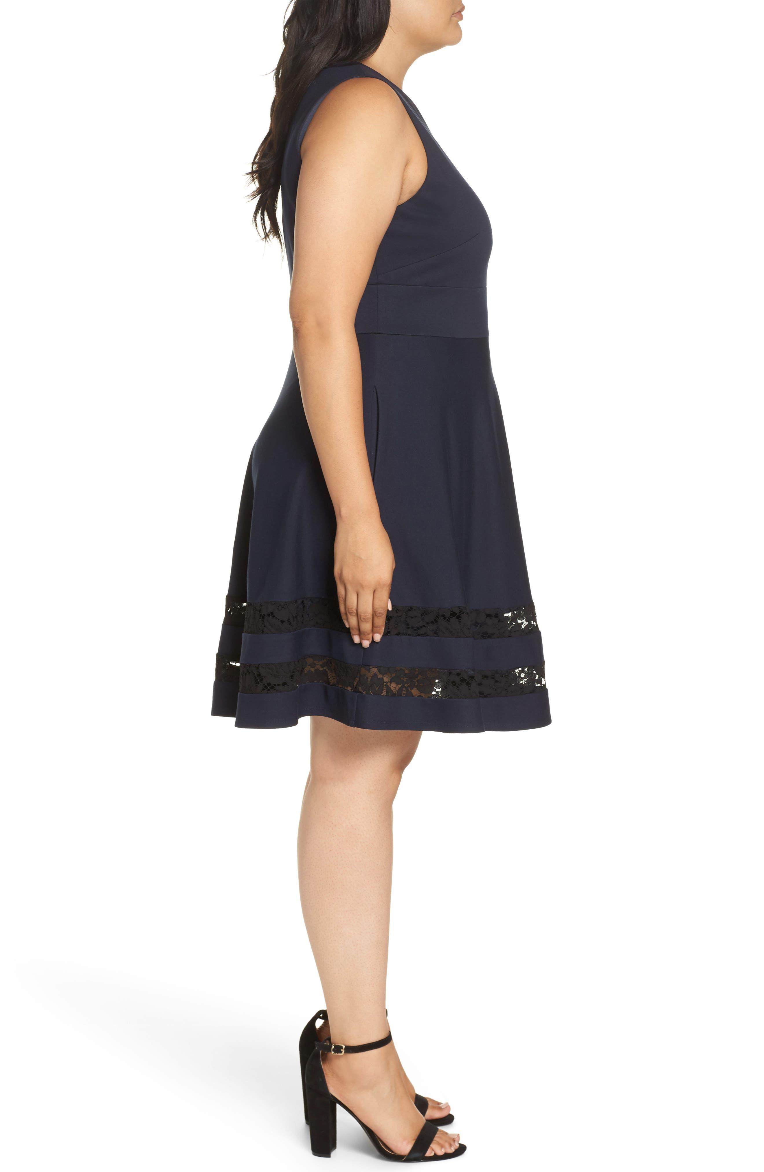 Lace Trim Fit & Flare Dress,                             Alternate thumbnail 3, color,                             NAVY