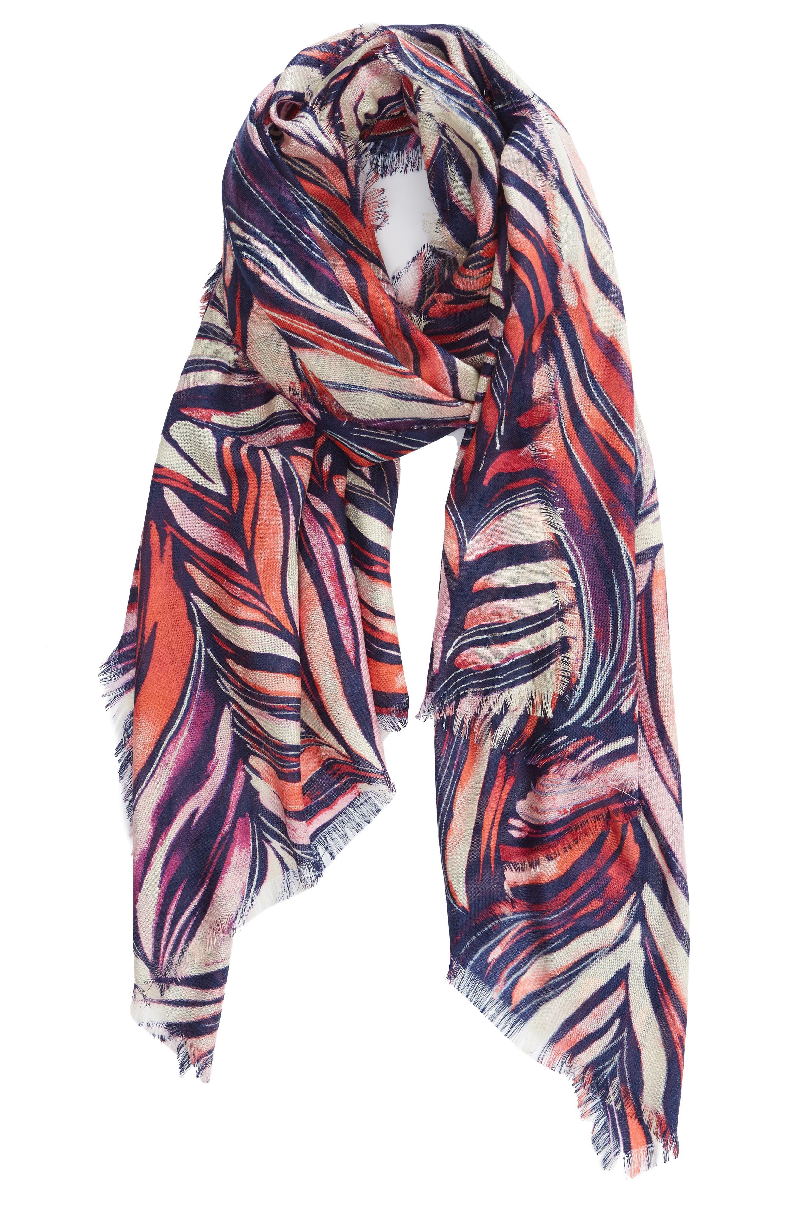 Eyelash Trim Print Cashmere & Silk Wrap,                             Alternate thumbnail 56, color,