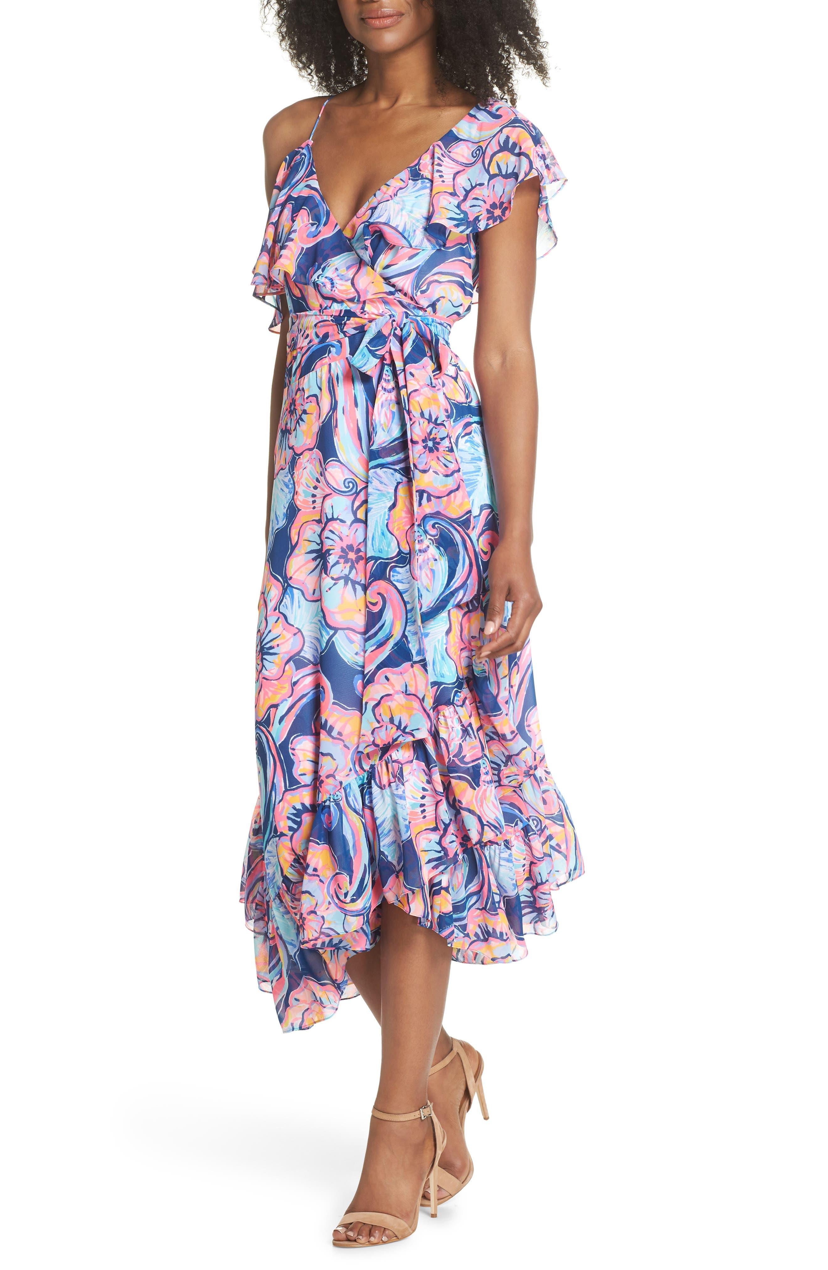Marianna Asymmetric Midi Wrap Dress,                             Alternate thumbnail 5, color,                             475