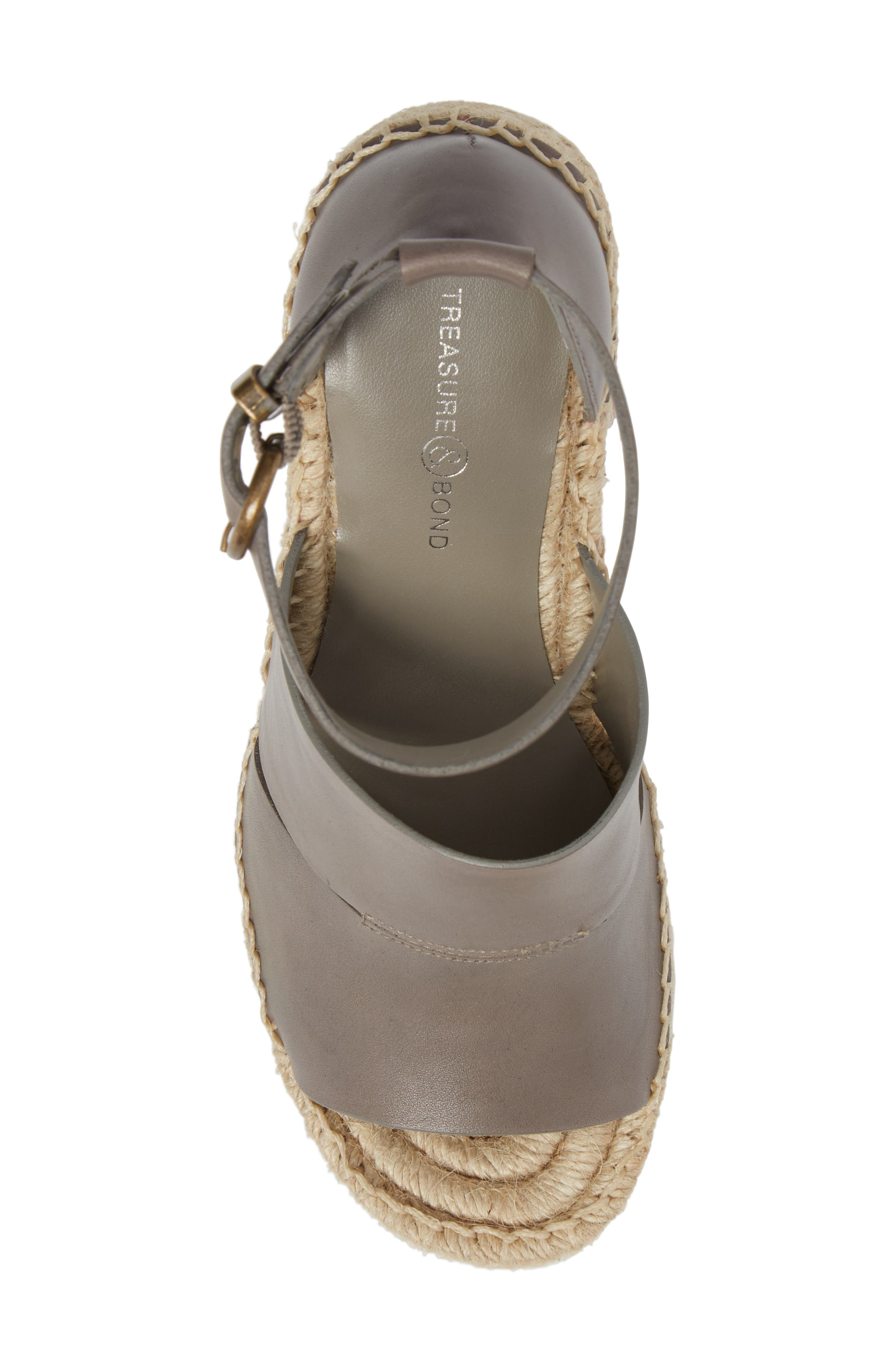 TREASURE & BOND,                             Sannibel Platform Wedge Sandal,                             Alternate thumbnail 5, color,                             GREY LEATHER