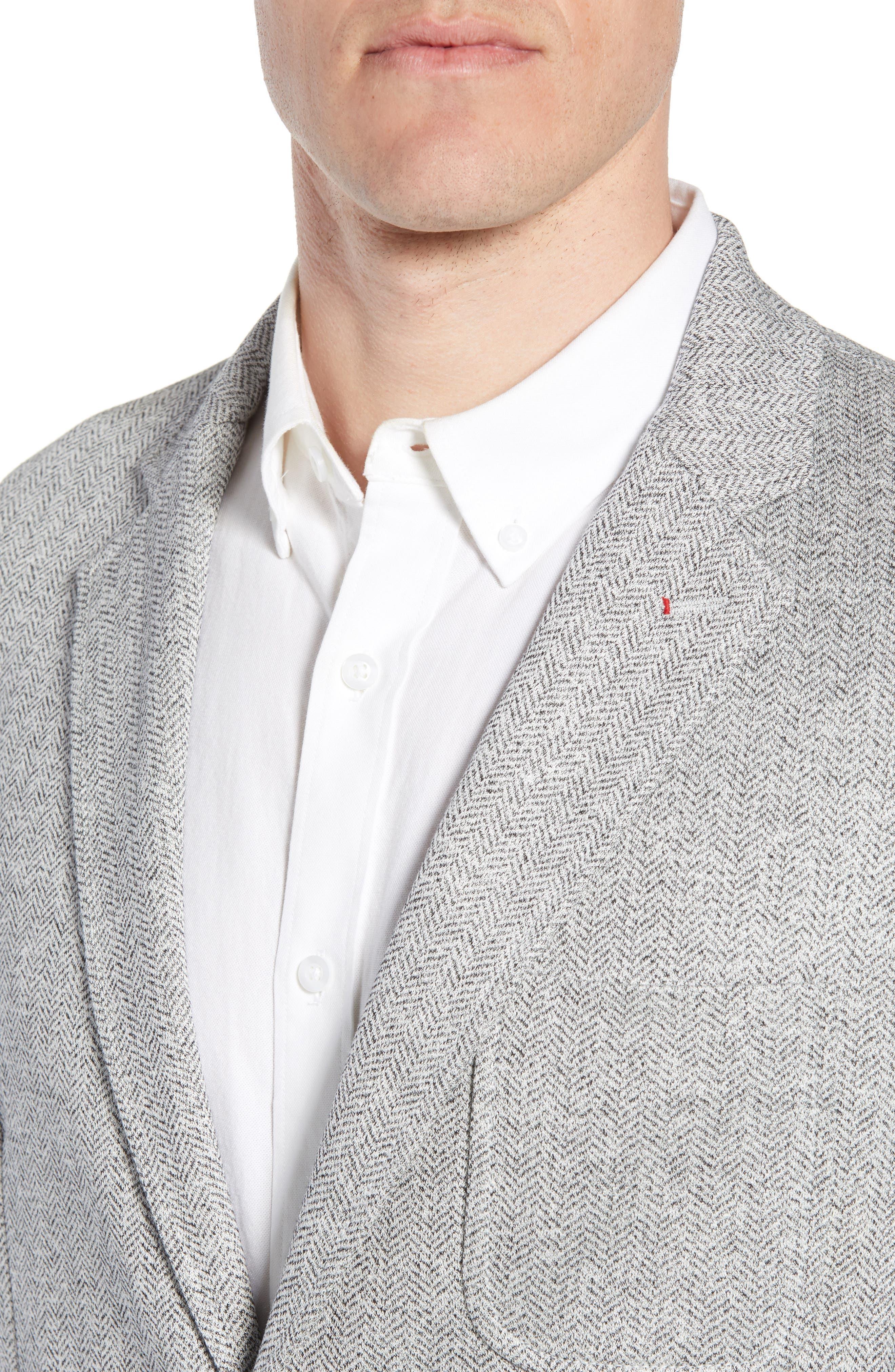 Regular Fit Herringbone Cotton & Linen Blazer,                             Alternate thumbnail 4, color,                             040