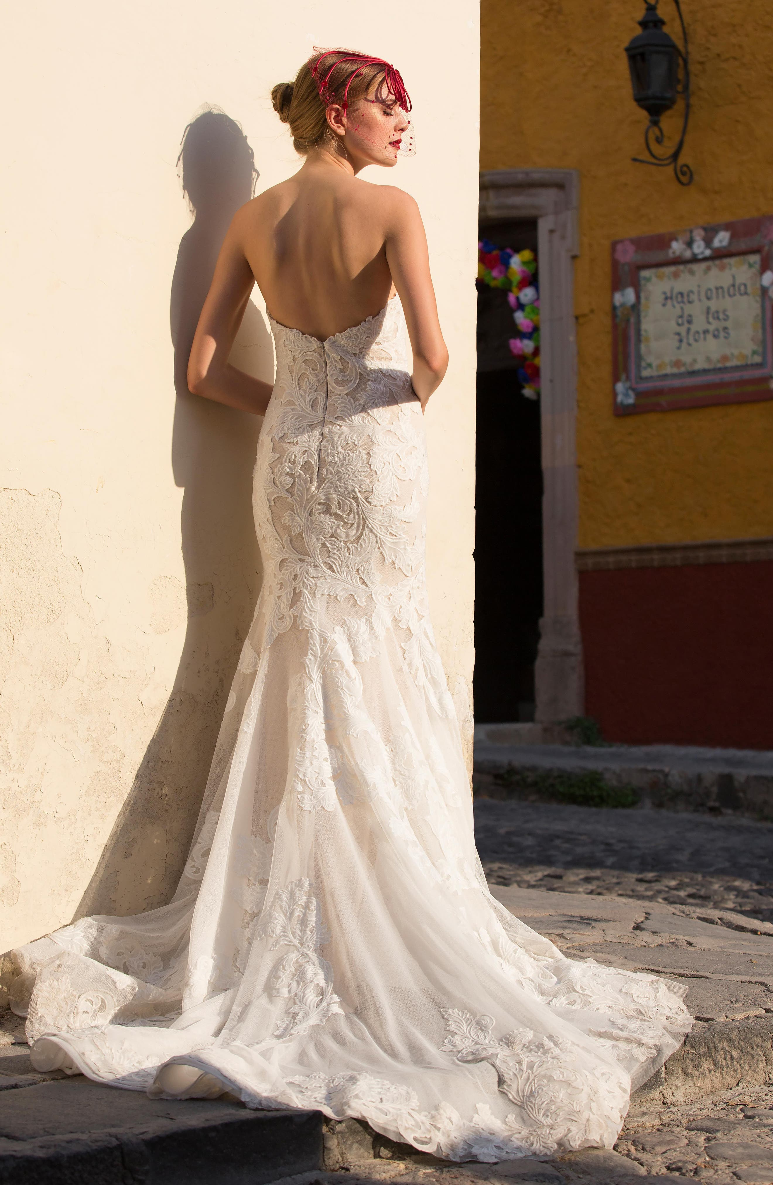 Tris Embroidered Strapless English Net Trumpet Gown,                             Alternate thumbnail 2, color,                             IVORY/ NUDE