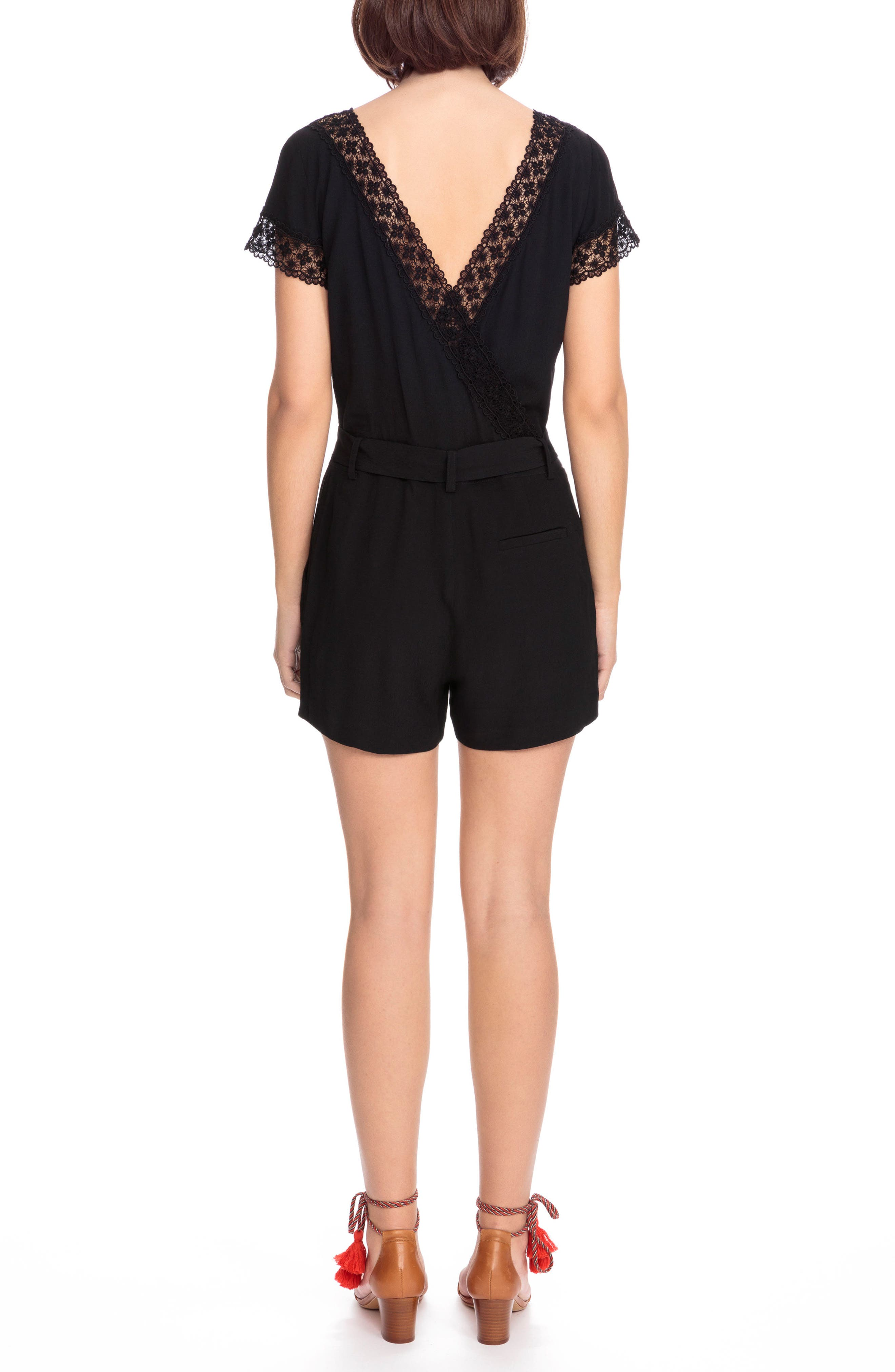 Amaya Lace Trim Romper,                             Alternate thumbnail 2, color,                             001