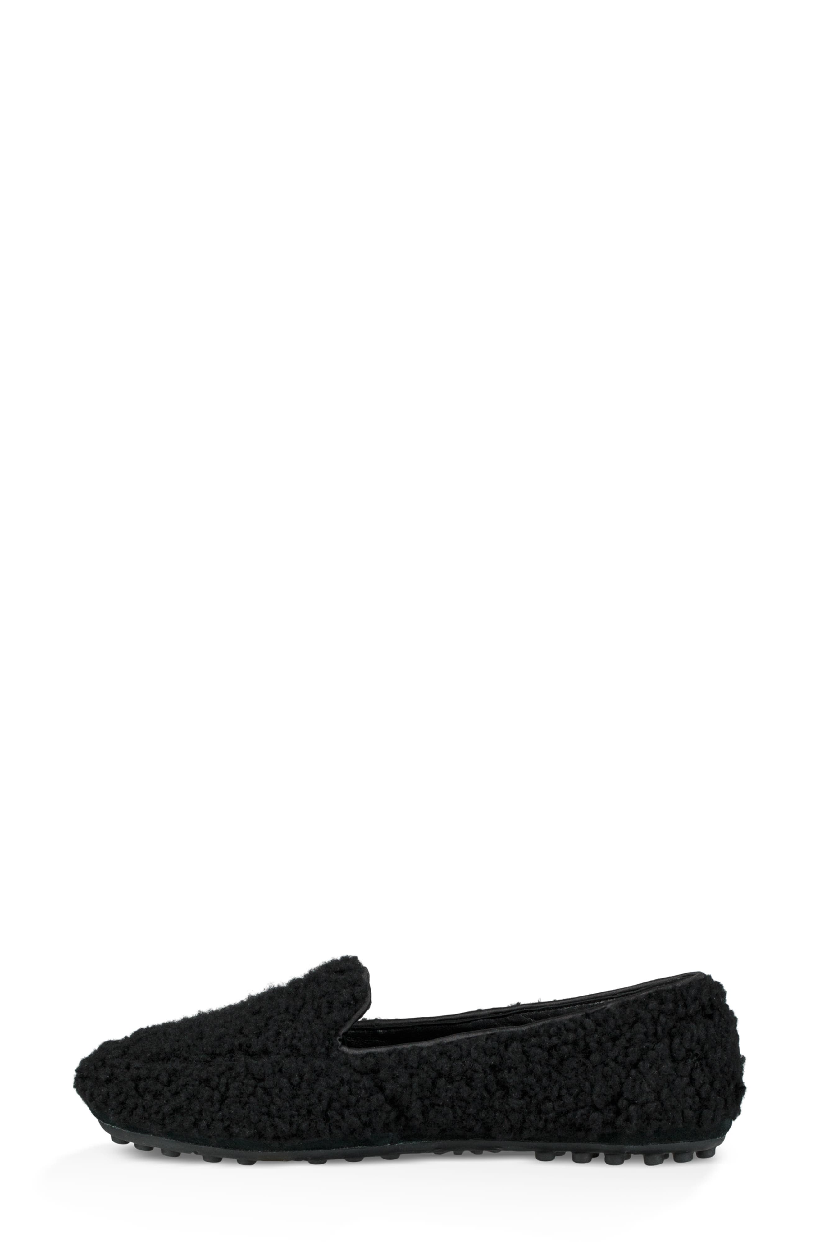 Hailey Fluff Genuine Shearling Slipper,                             Alternate thumbnail 6, color,                             BLACK