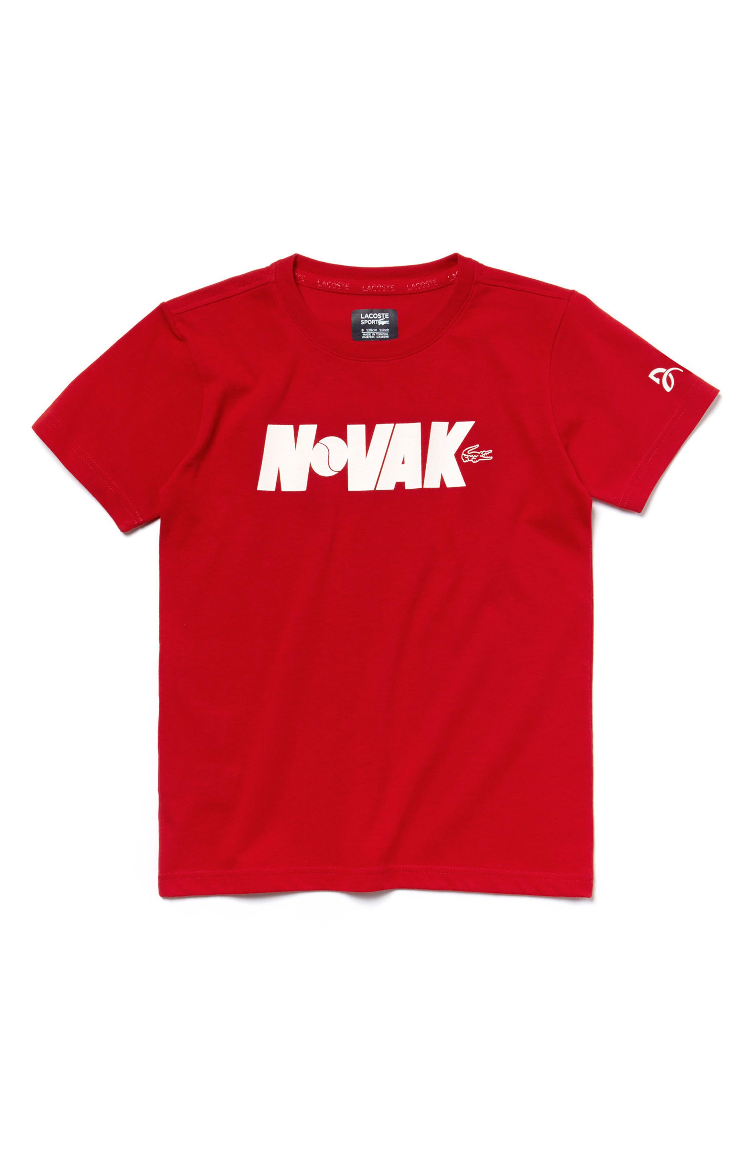 Novak Djokovic Tech Jersey T-Shirt,                             Main thumbnail 1, color,                             RED/ WHITE