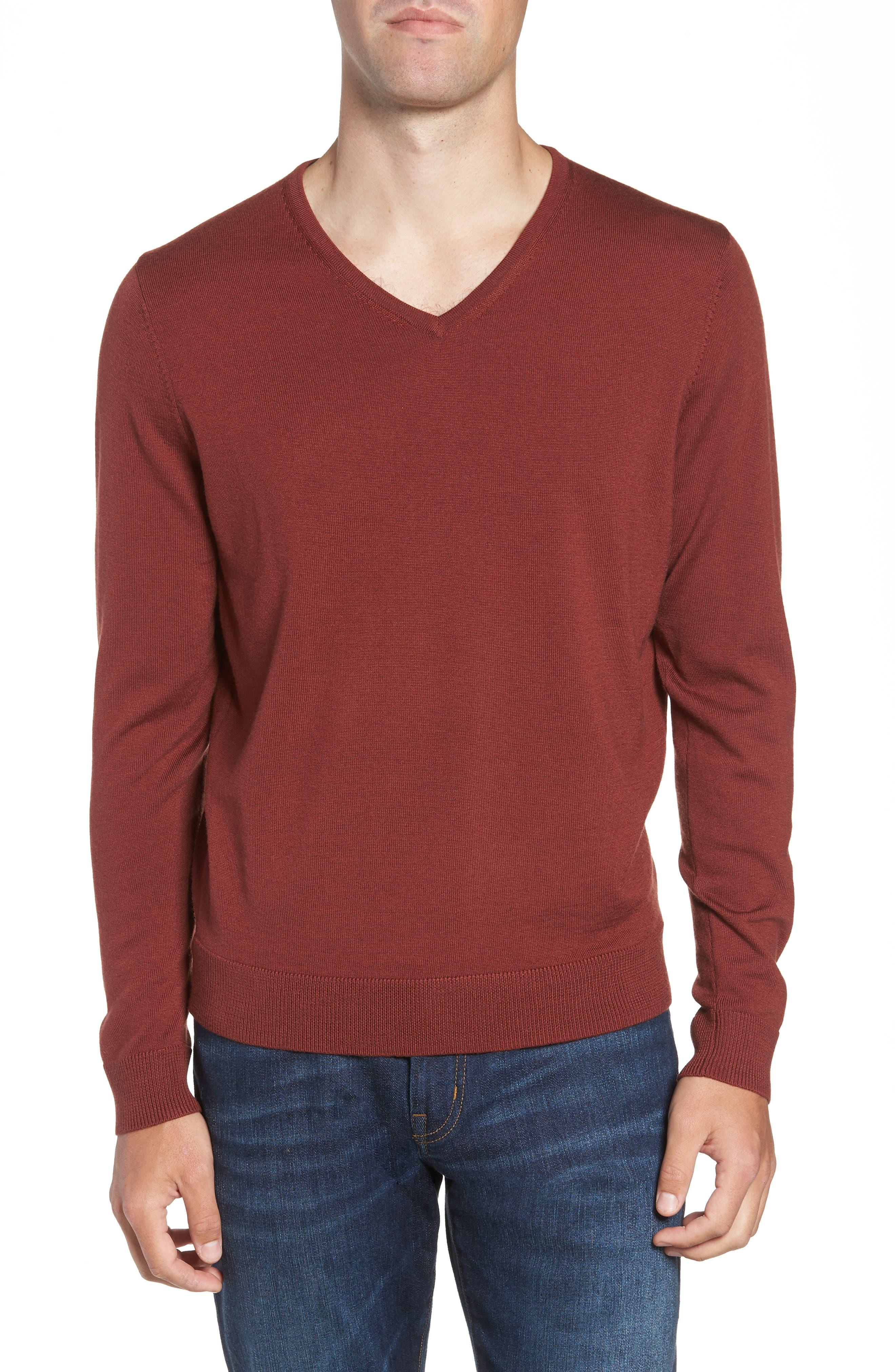 Nordstrom Shop V-Neck Merino Wool Sweater, Brown