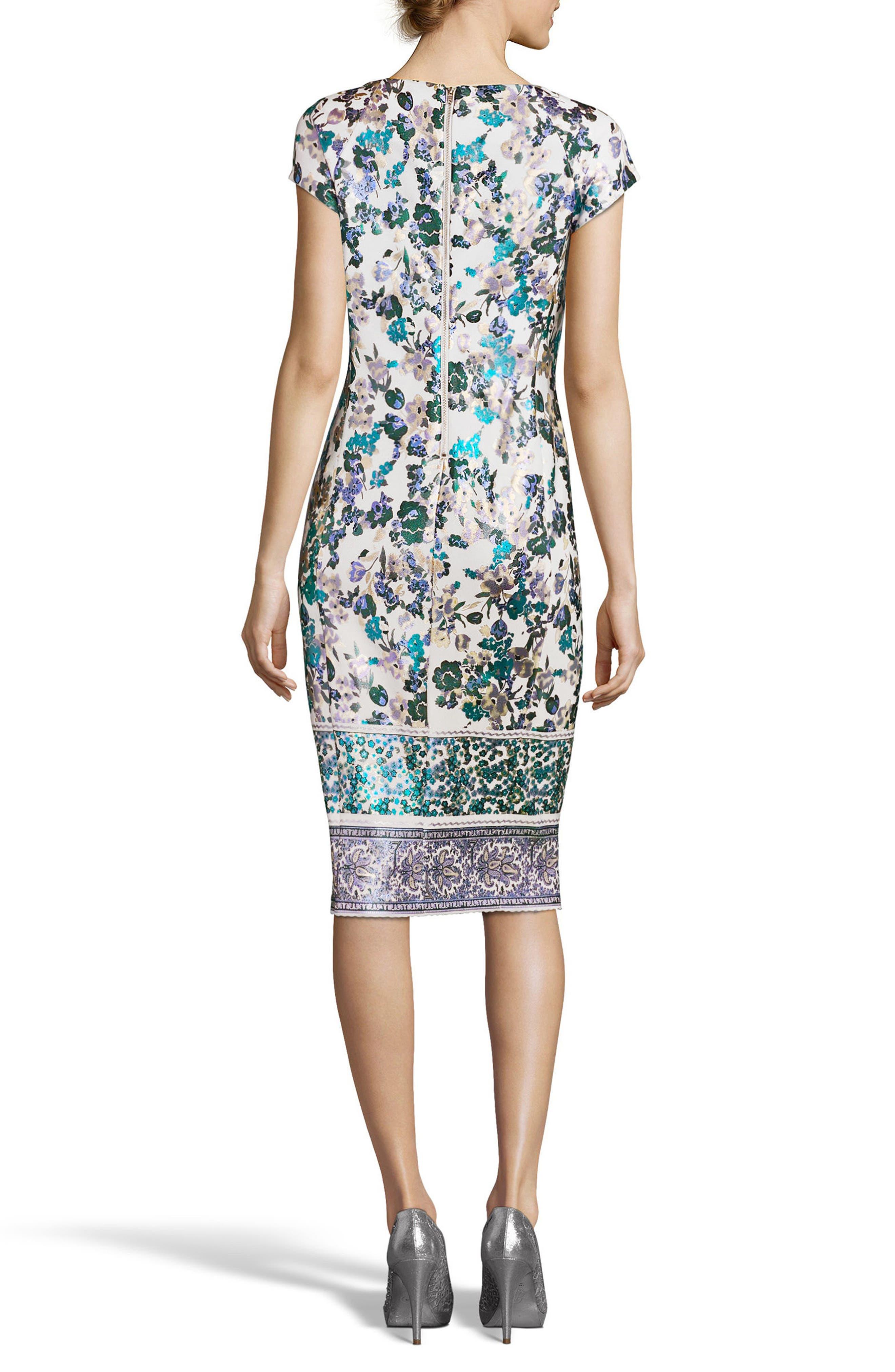 Metallic Foil Print Sheath Dress,                             Alternate thumbnail 2, color,                             141