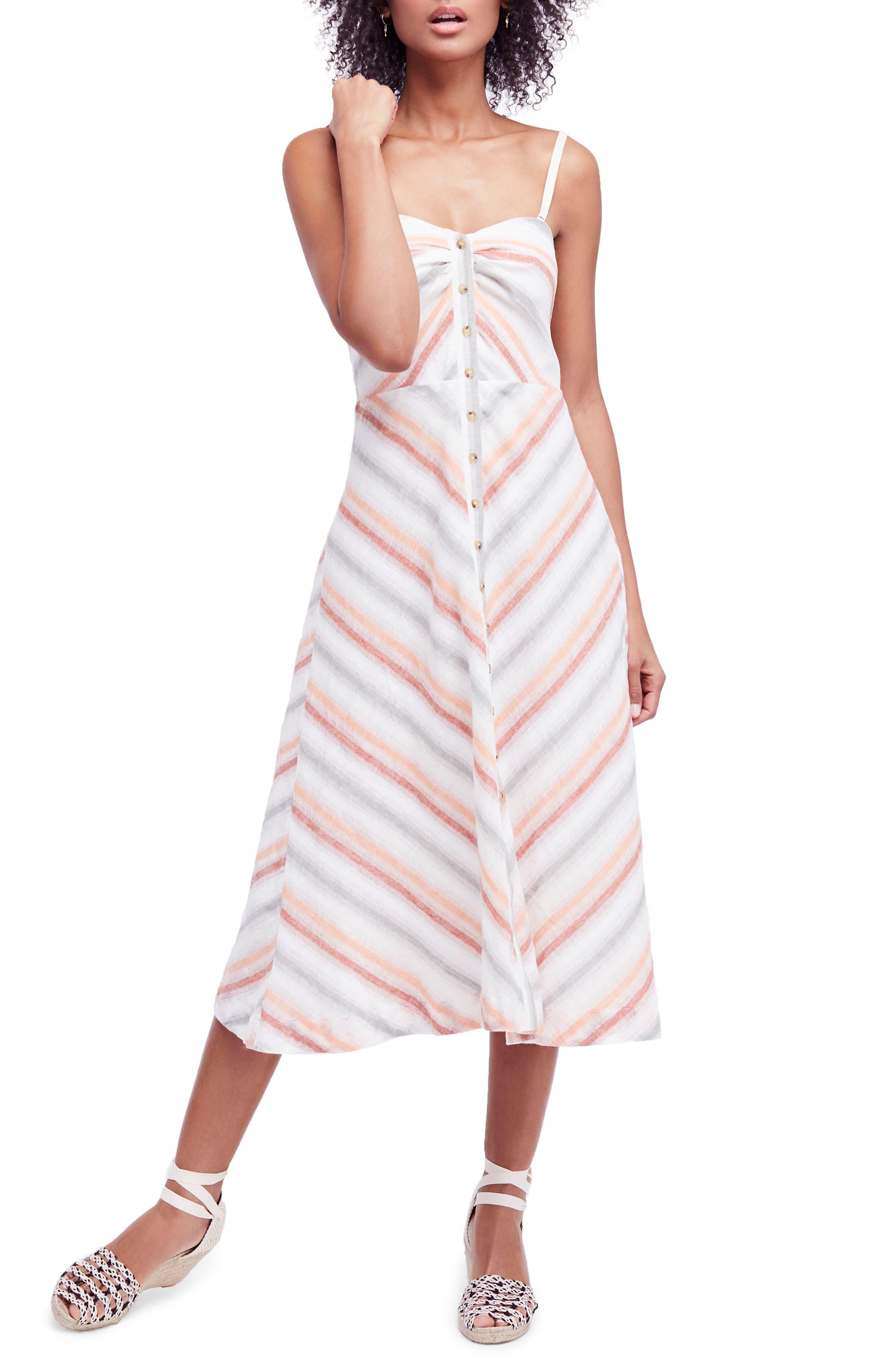 Striking Stripe Midi Dress,                             Main thumbnail 1, color,                             903