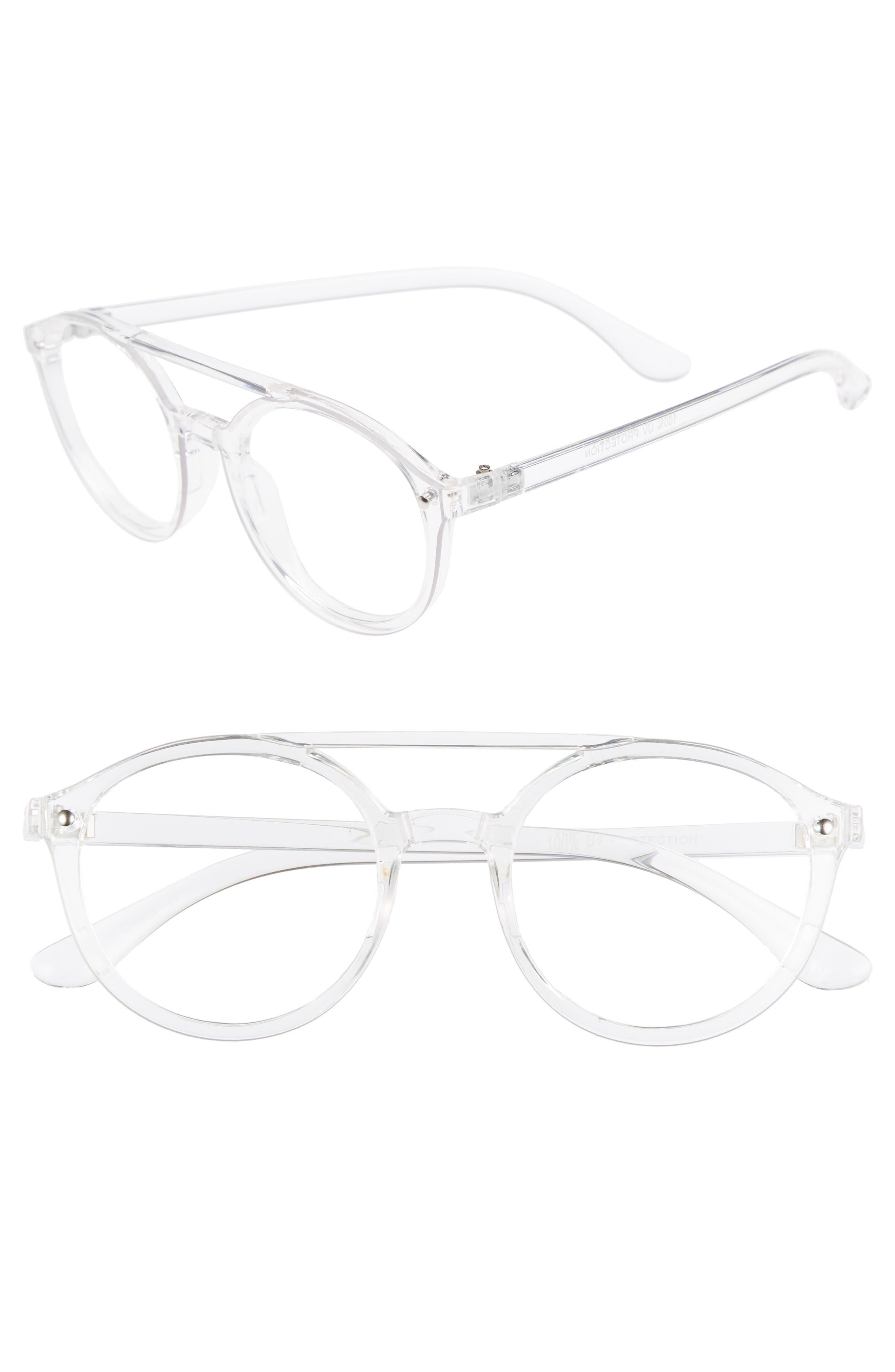 54mm Aviator Fashion Glasses,                             Main thumbnail 1, color,                             CLEAR