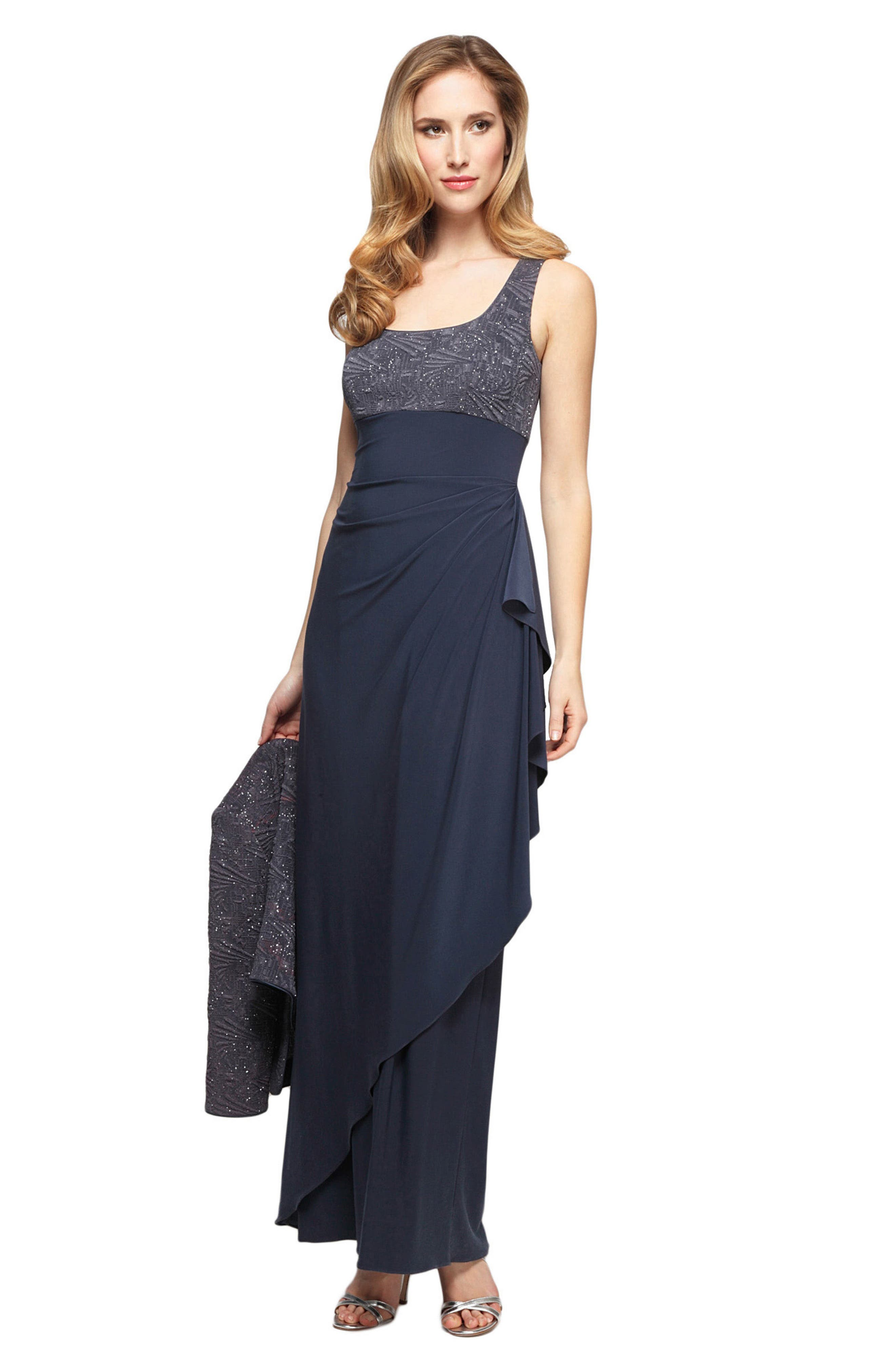 Draped Gown with Bolero,                             Alternate thumbnail 2, color,                             069