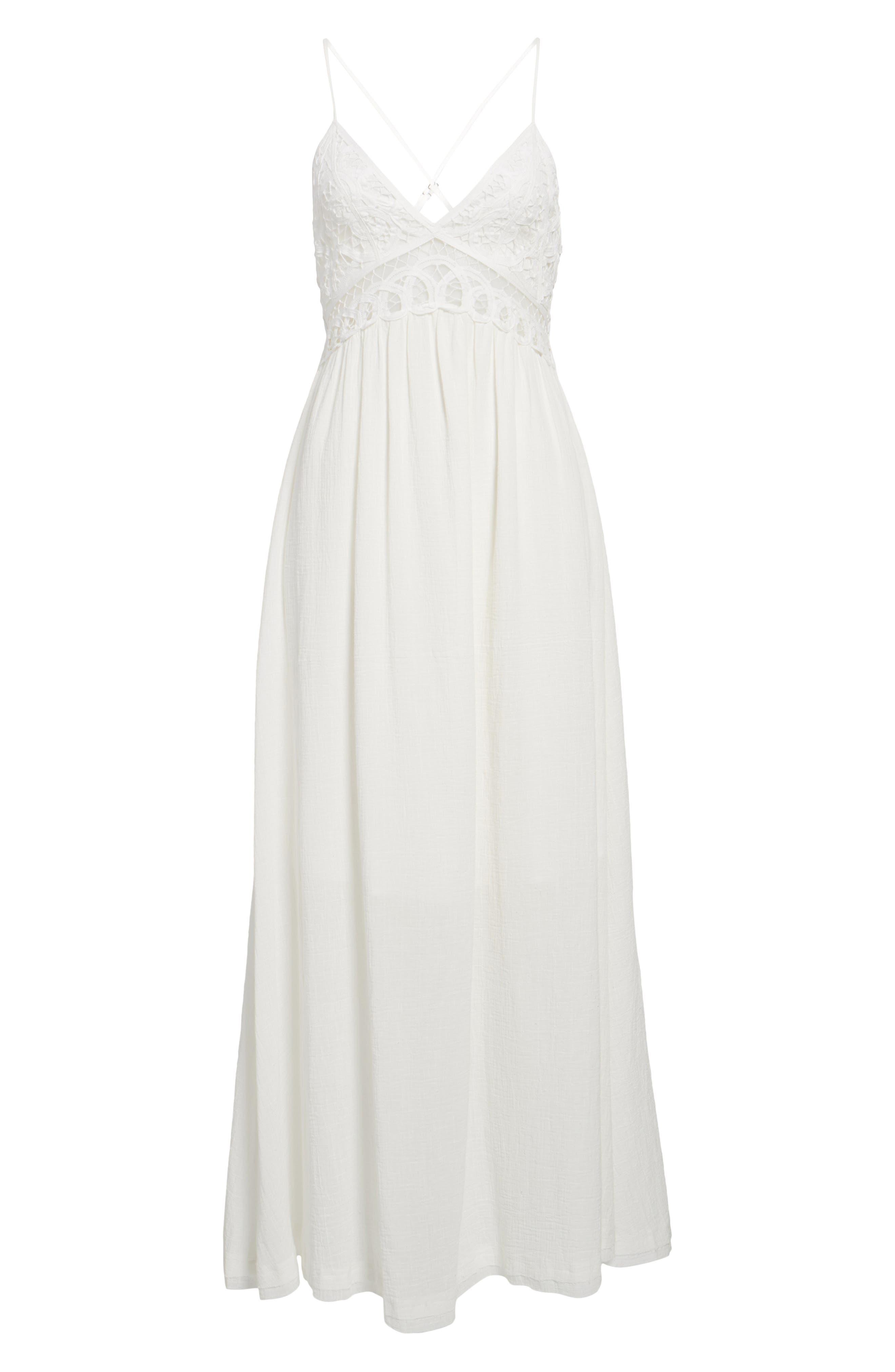 Lace Inset Empire Waist Maxi Dress,                             Alternate thumbnail 6, color,                             100