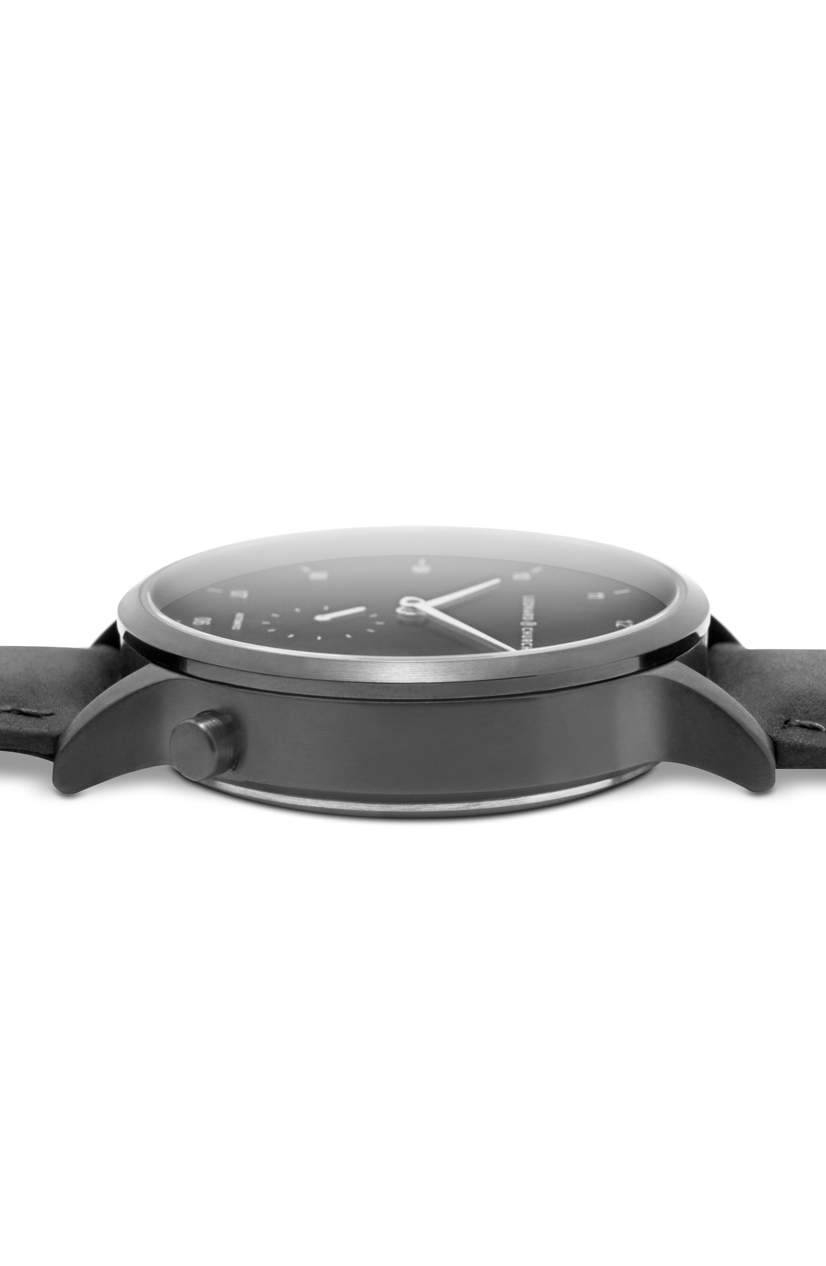 Leonard & Church Sullivan Automatic Suede Strap Watch, 39mm,                             Alternate thumbnail 6, color,                             BLACK