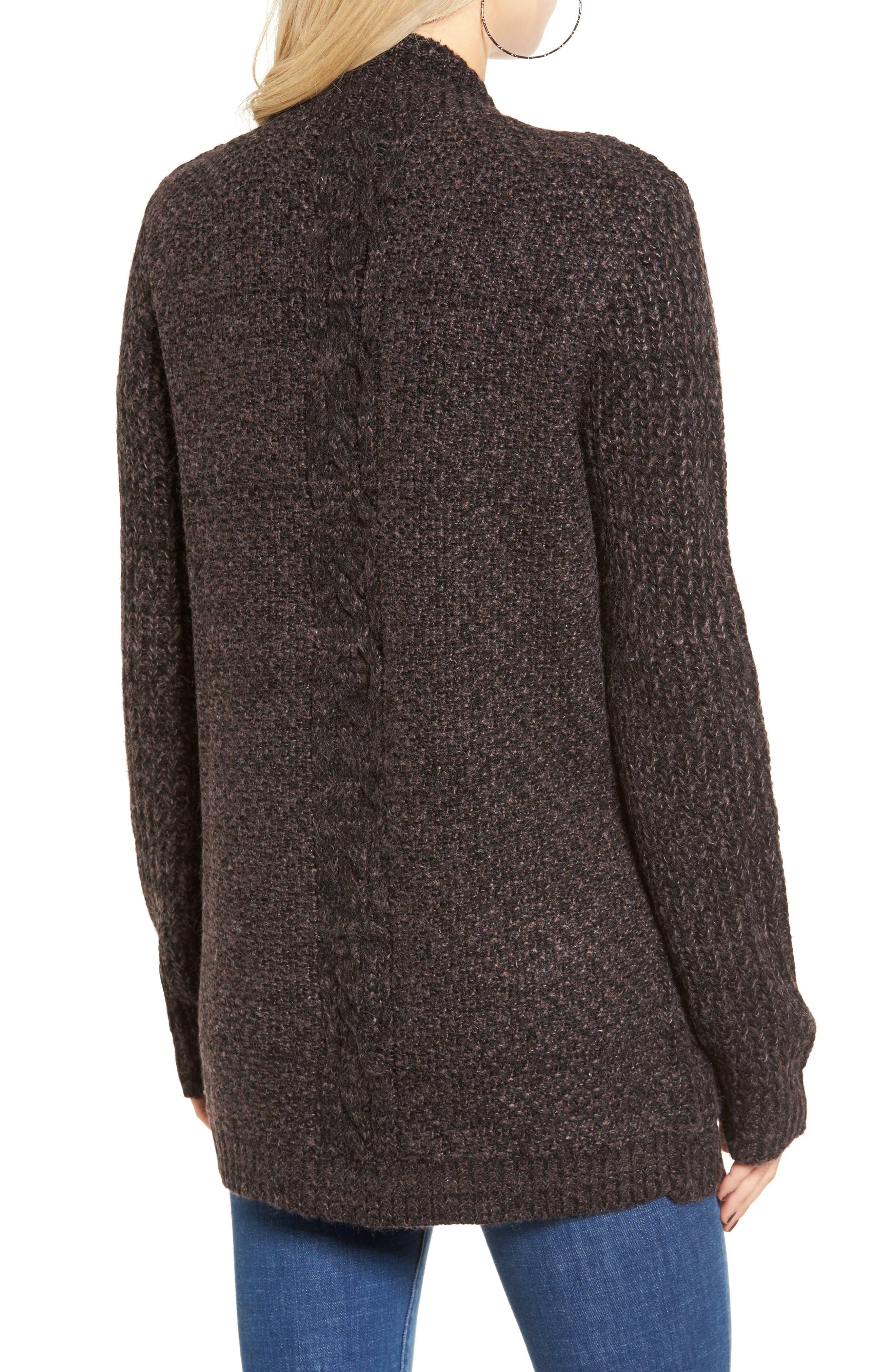 COTTON EMPORIUM,                             Marled Knit Open Cardigan,                             Alternate thumbnail 2, color,                             001
