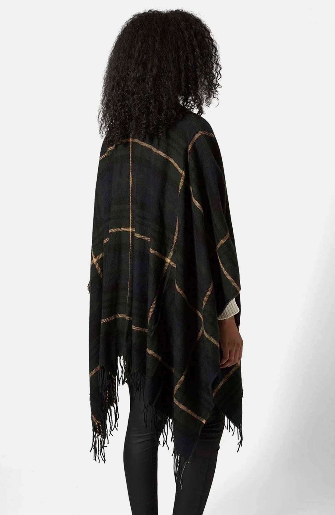 TOPSHOP,                             Checked Cape,                             Alternate thumbnail 2, color,                             400
