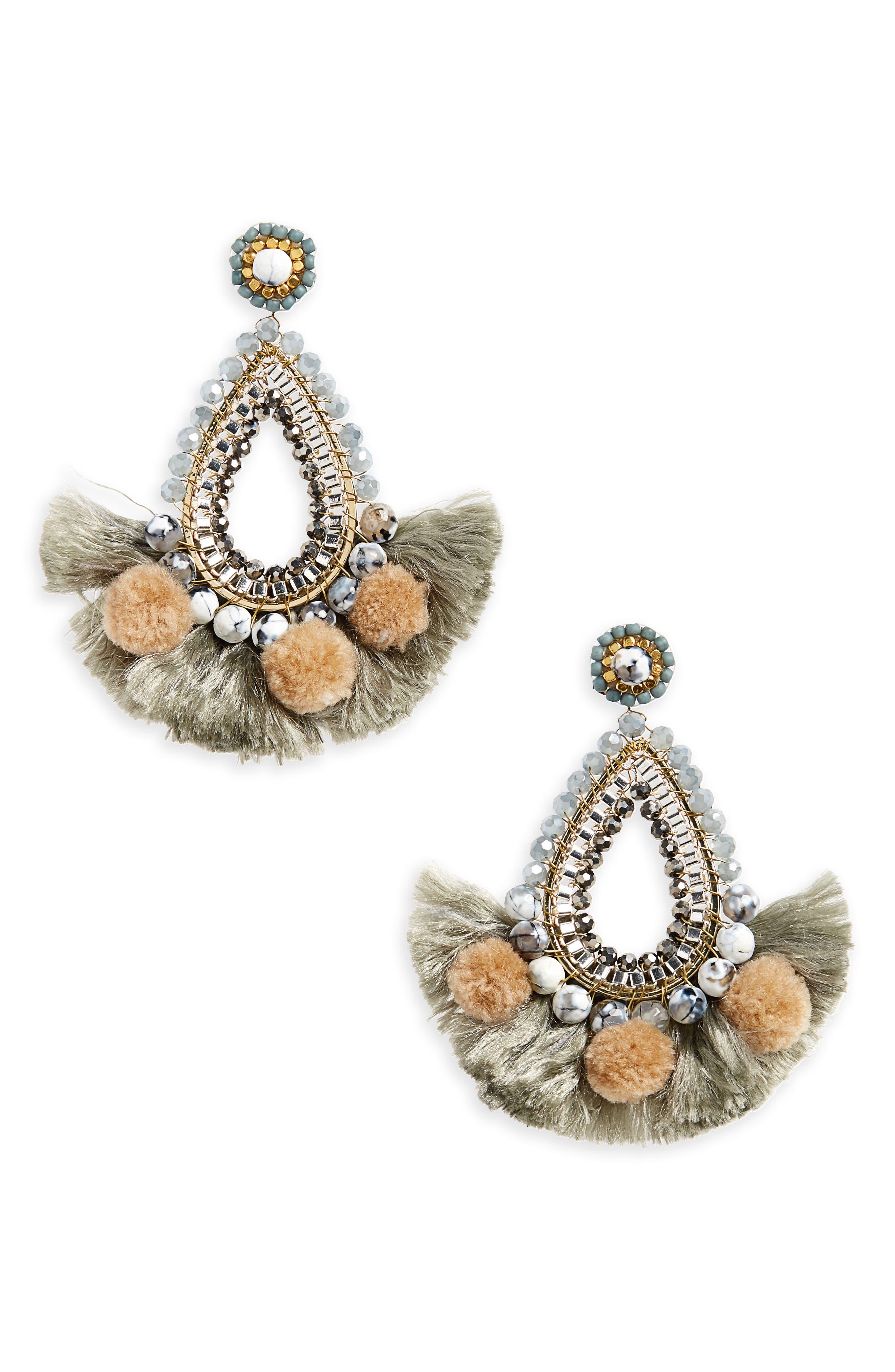 Fringe Teardrop Earrings,                         Main,                         color, 020