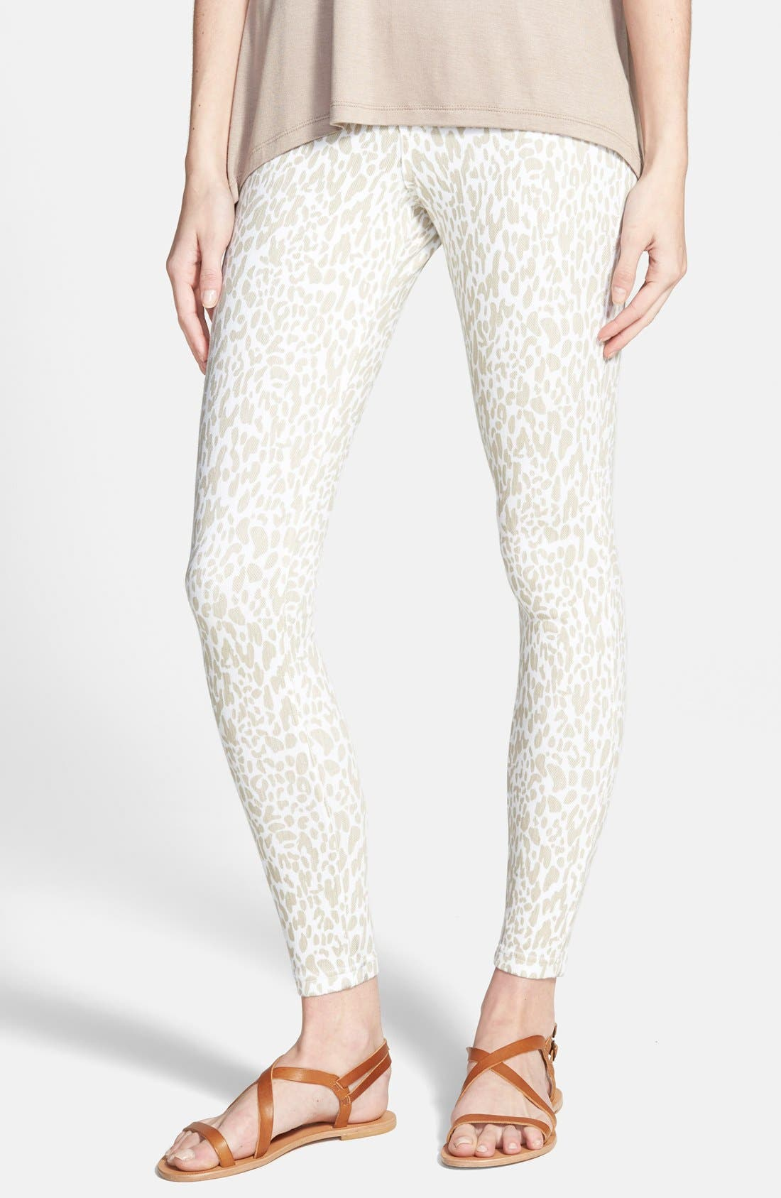 Leopard Print Denim Leggings,                             Main thumbnail 1, color,                             100