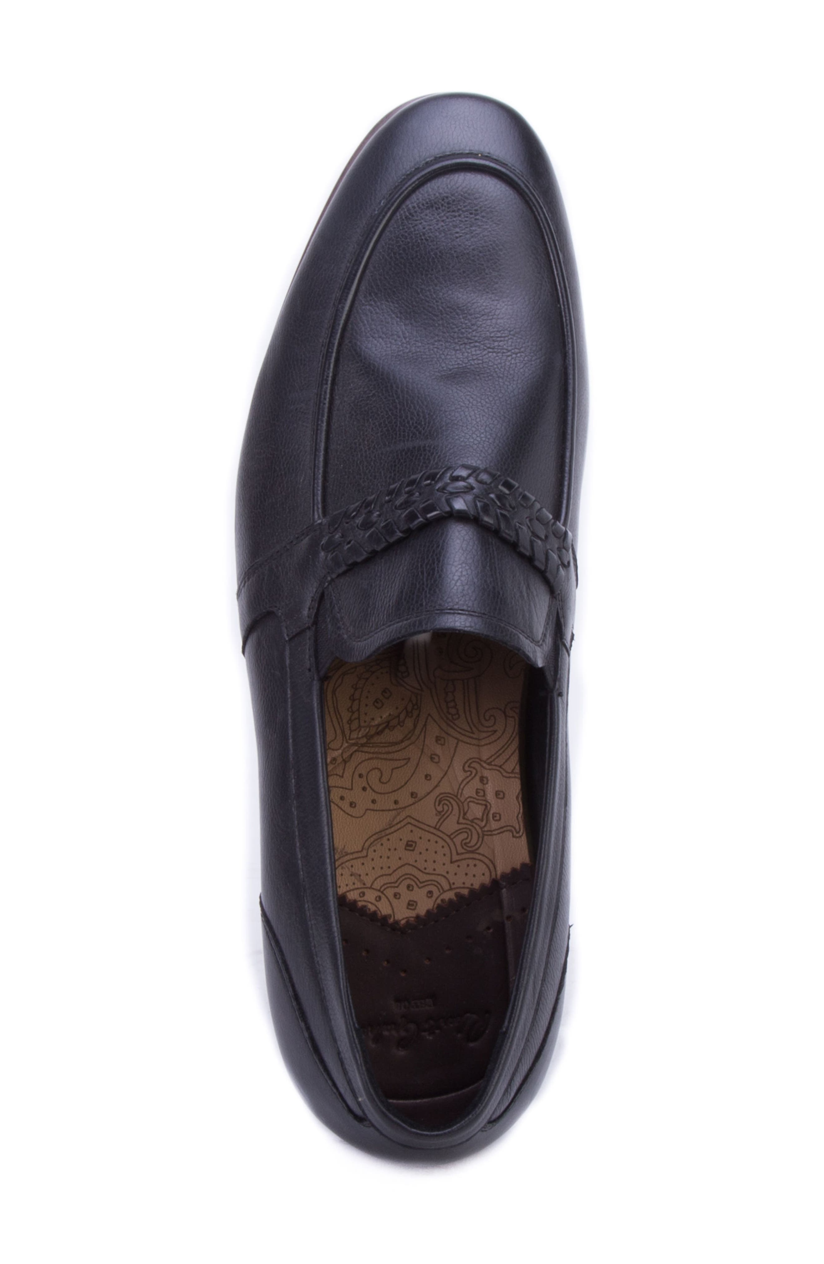 Robinson Whipstitch Apron Toe Loafer,                             Alternate thumbnail 5, color,                             BLACK LEATHER