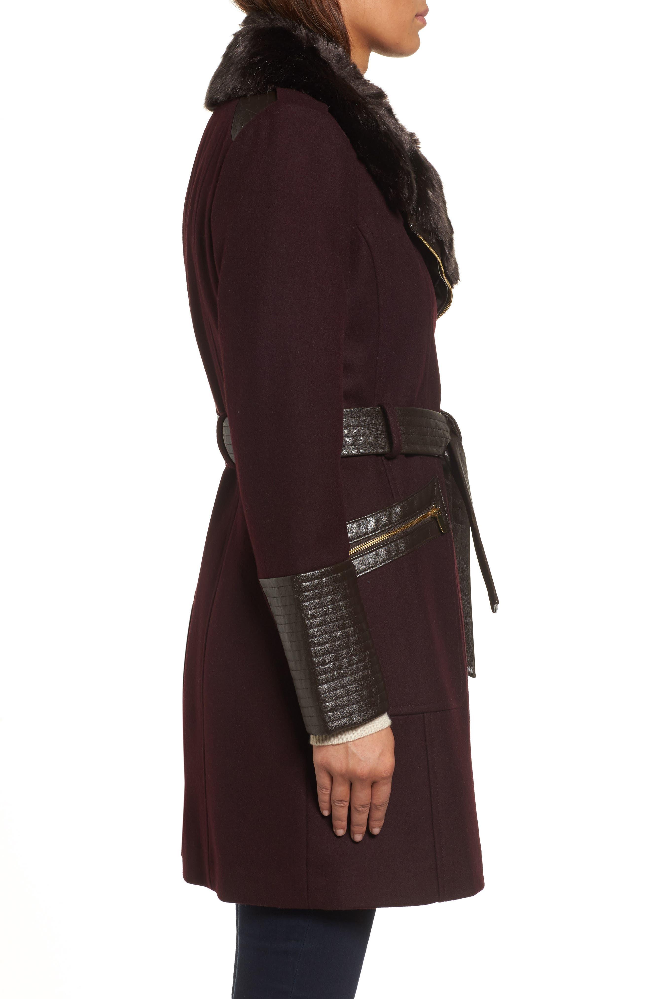 Faux Leather & Faux Fur Trim Belted Wool Blend Coat,                             Alternate thumbnail 19, color,