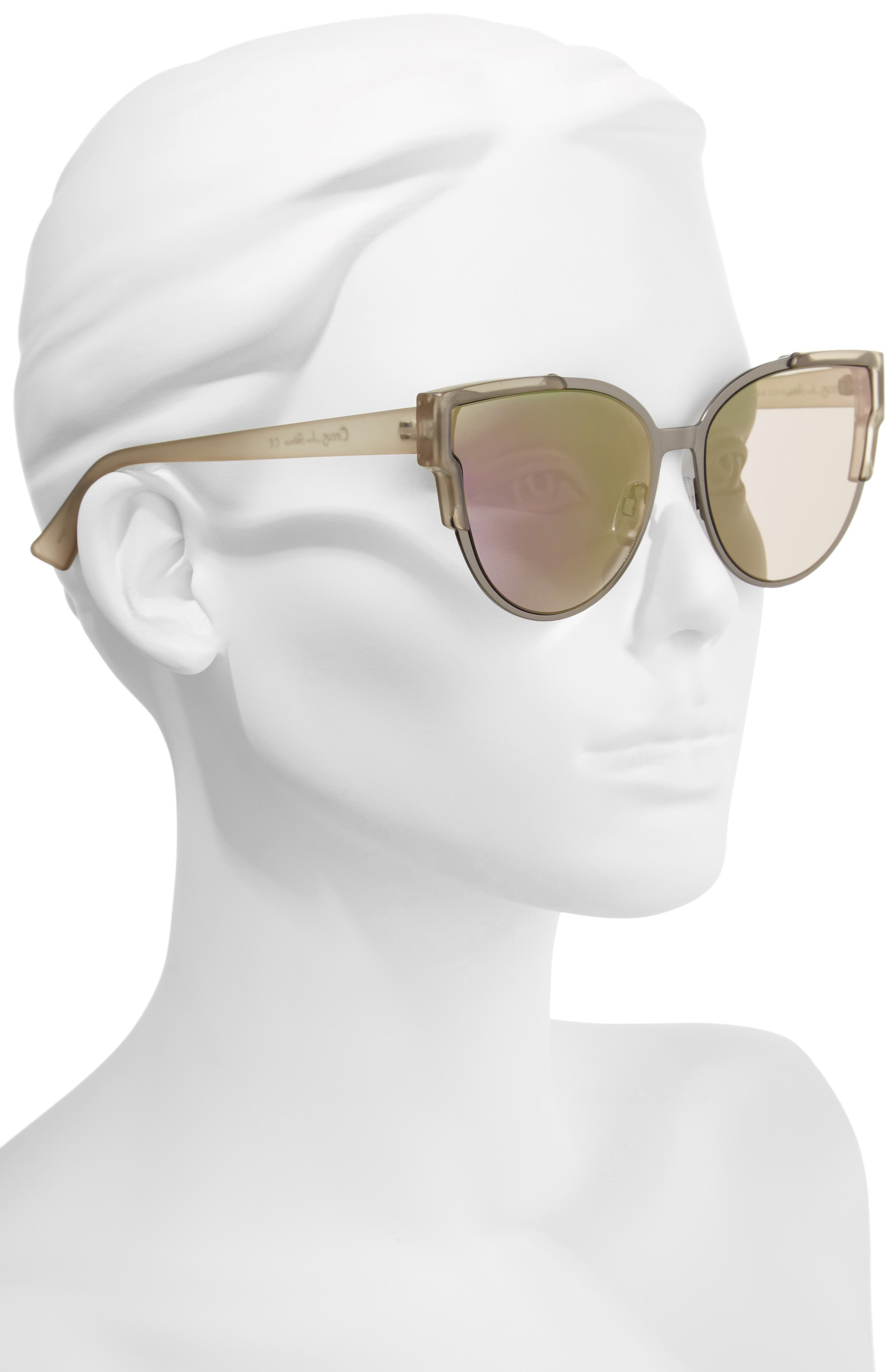 56mm Combo Cat Eye Sunglasses,                             Alternate thumbnail 5, color,
