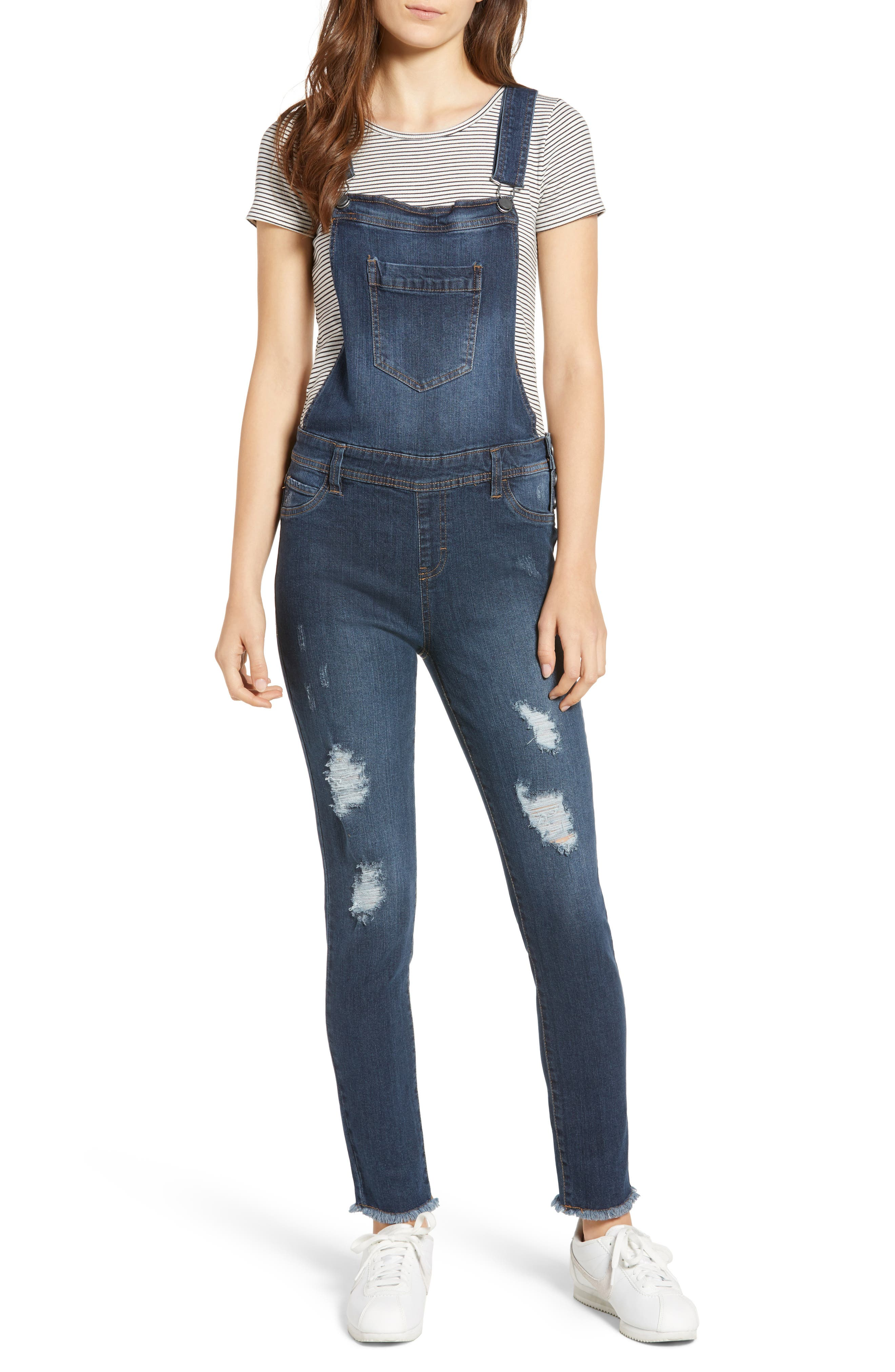 TINSEL Ripped Skinny Overalls, Main, color, 400