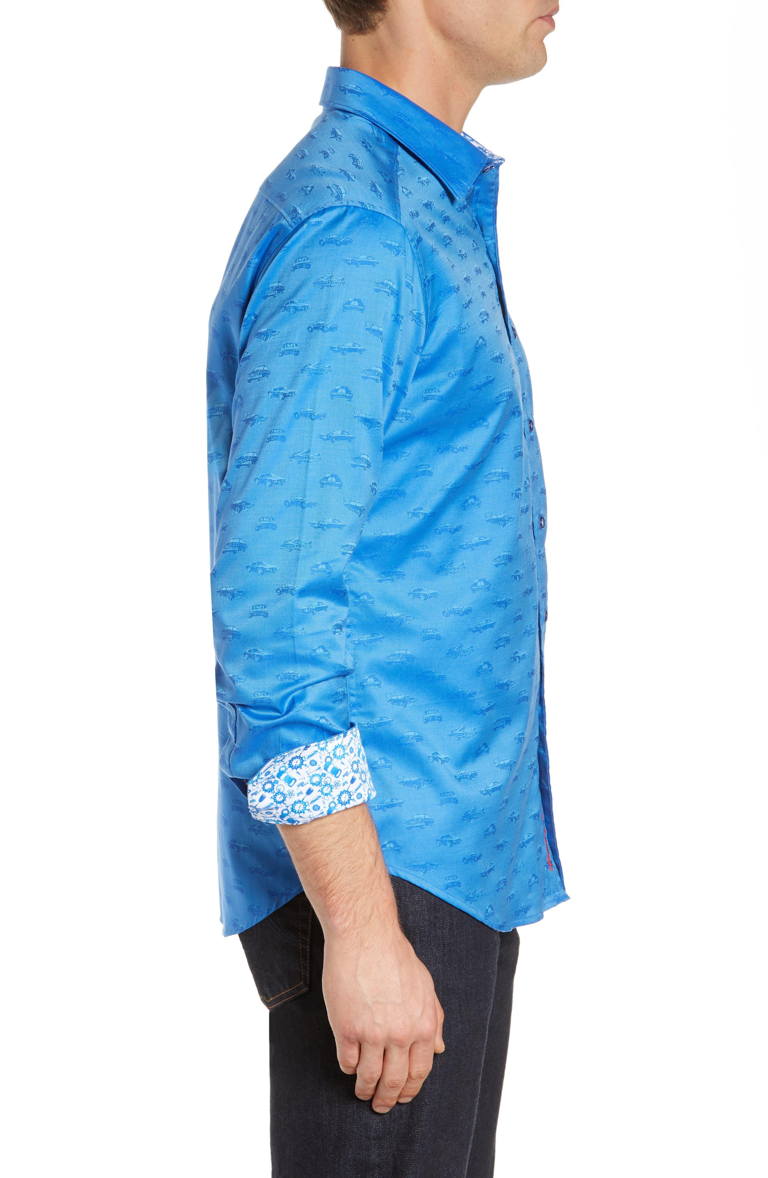 ROBERT GRAHAM,                             Car Enthusiast Jacquard Sport Shirt,                             Alternate thumbnail 4, color,                             COBALT
