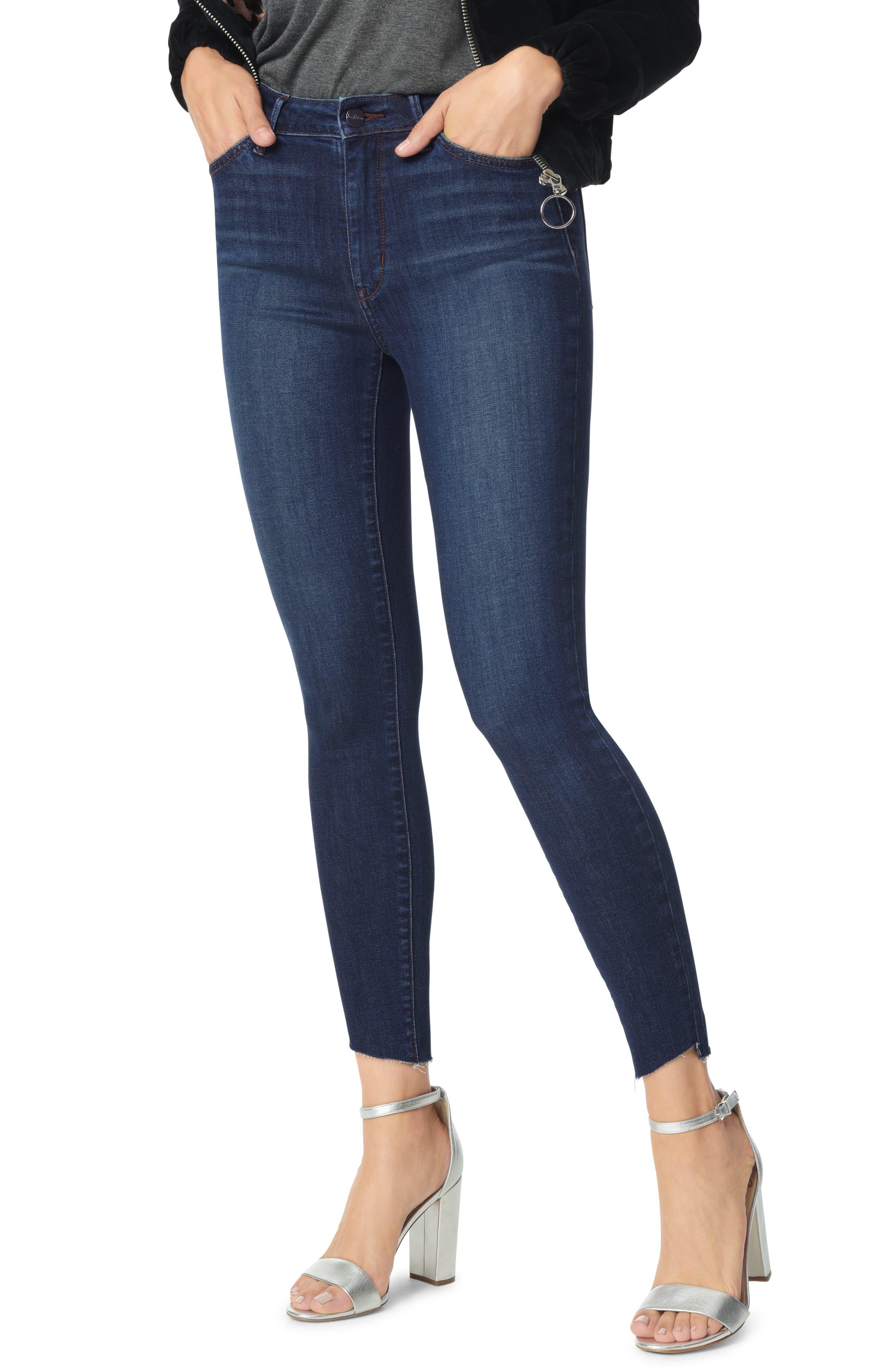 The Stiletto Angled Raw Hem Ankle Skinny Jeans,                         Main,                         color, BABZ