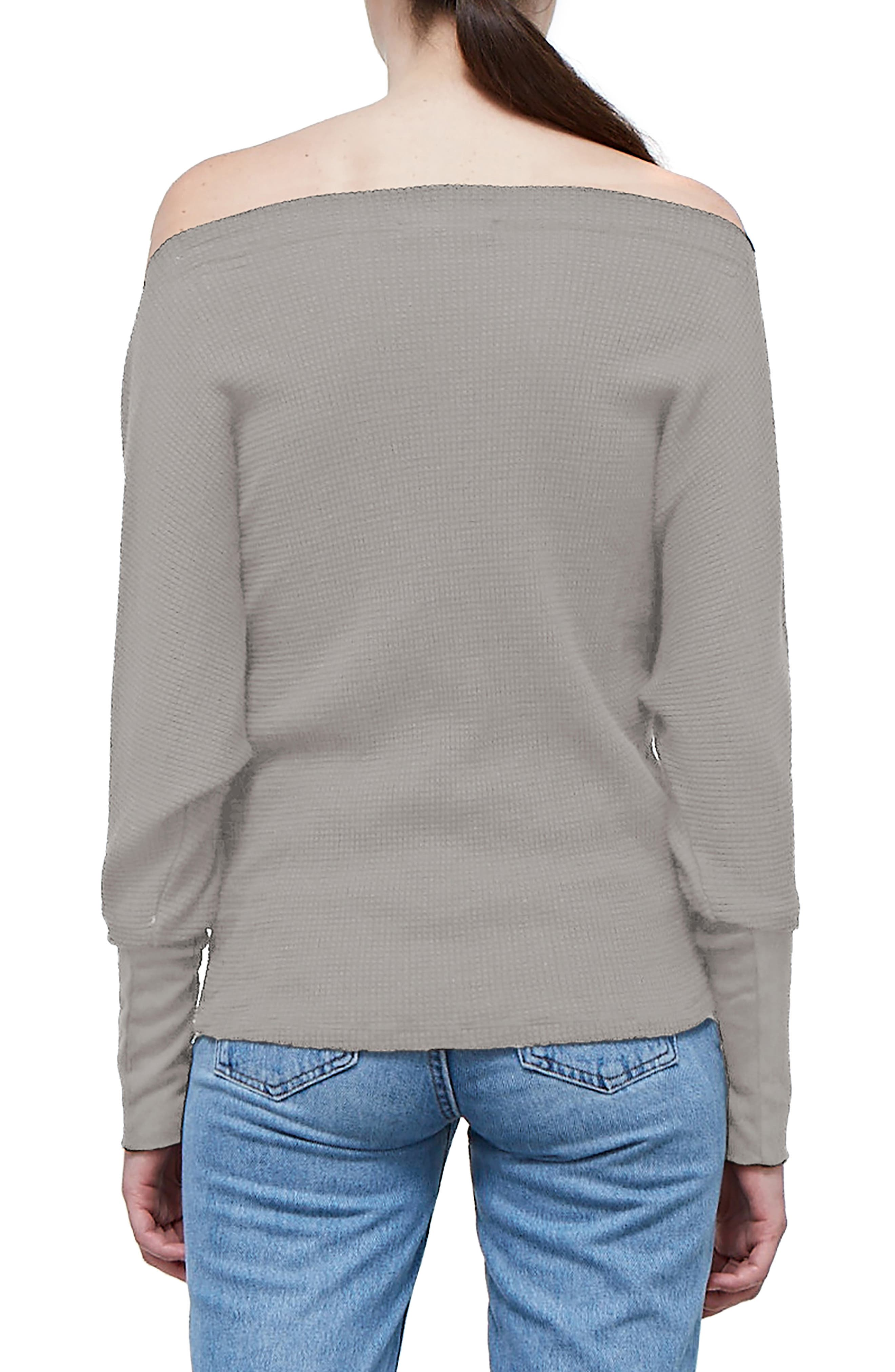 Off the Shoulder Thermal Top,                             Alternate thumbnail 2, color,                             TAUPE