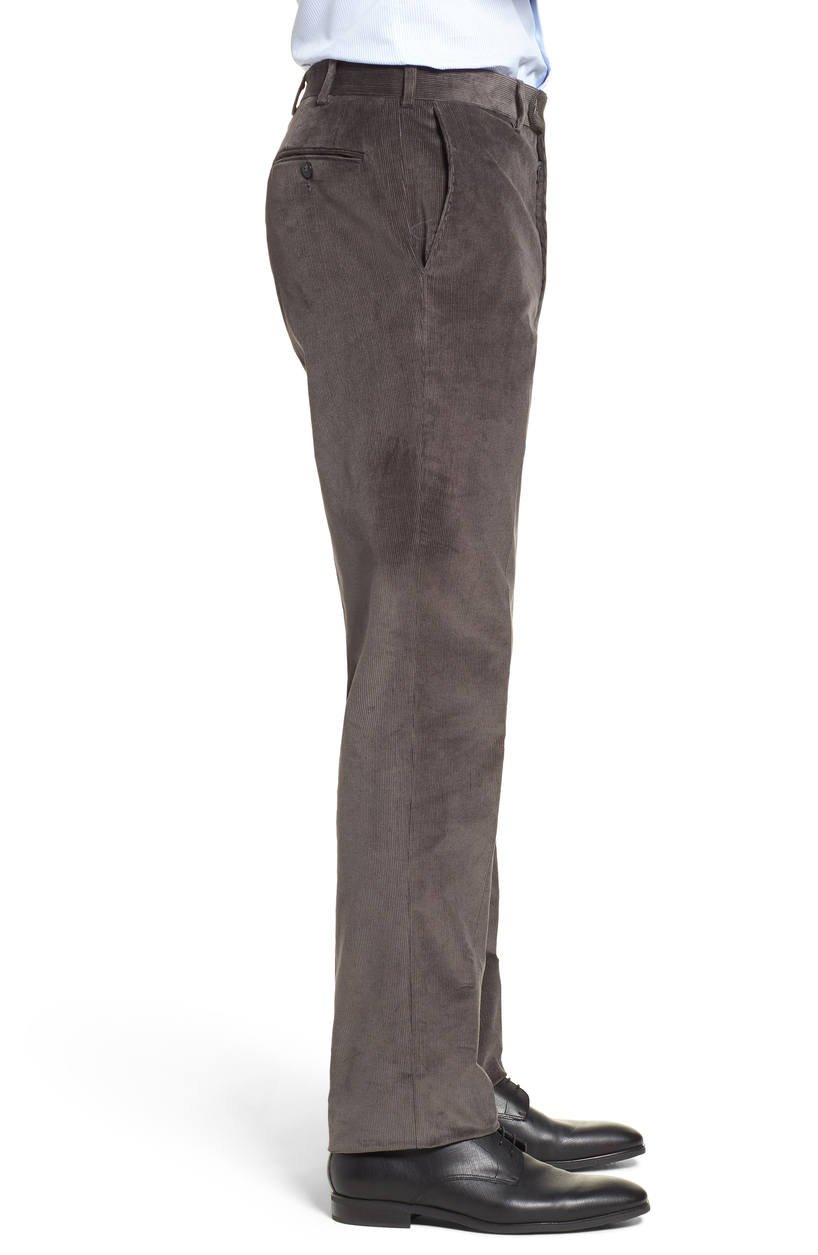 Torino Traditional Fit Flat Front Corduroy Trousers,                             Alternate thumbnail 3, color,                             GREY