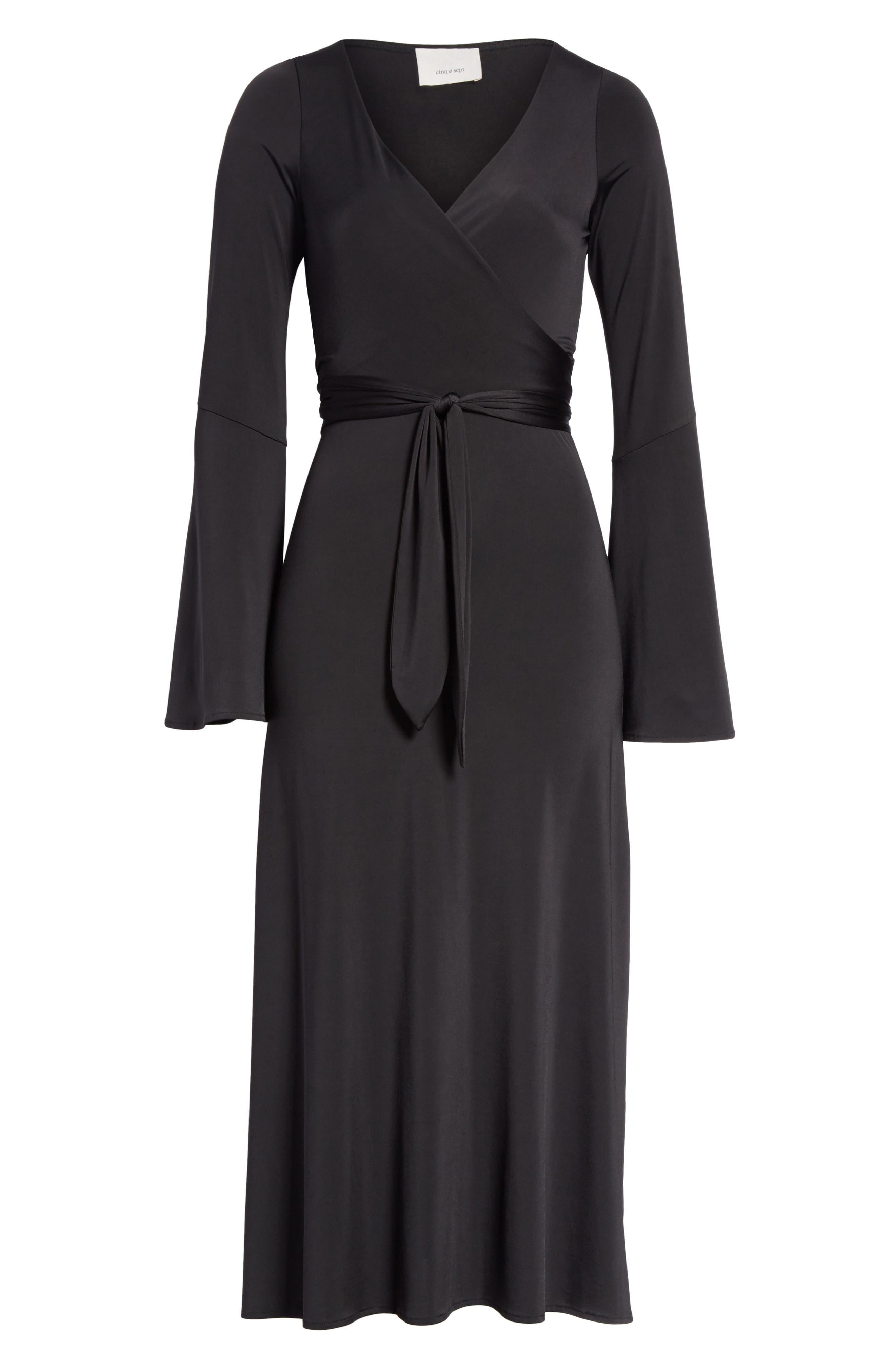 Lourdes Jersey Wrap Midi Dress,                             Alternate thumbnail 6, color,                             001