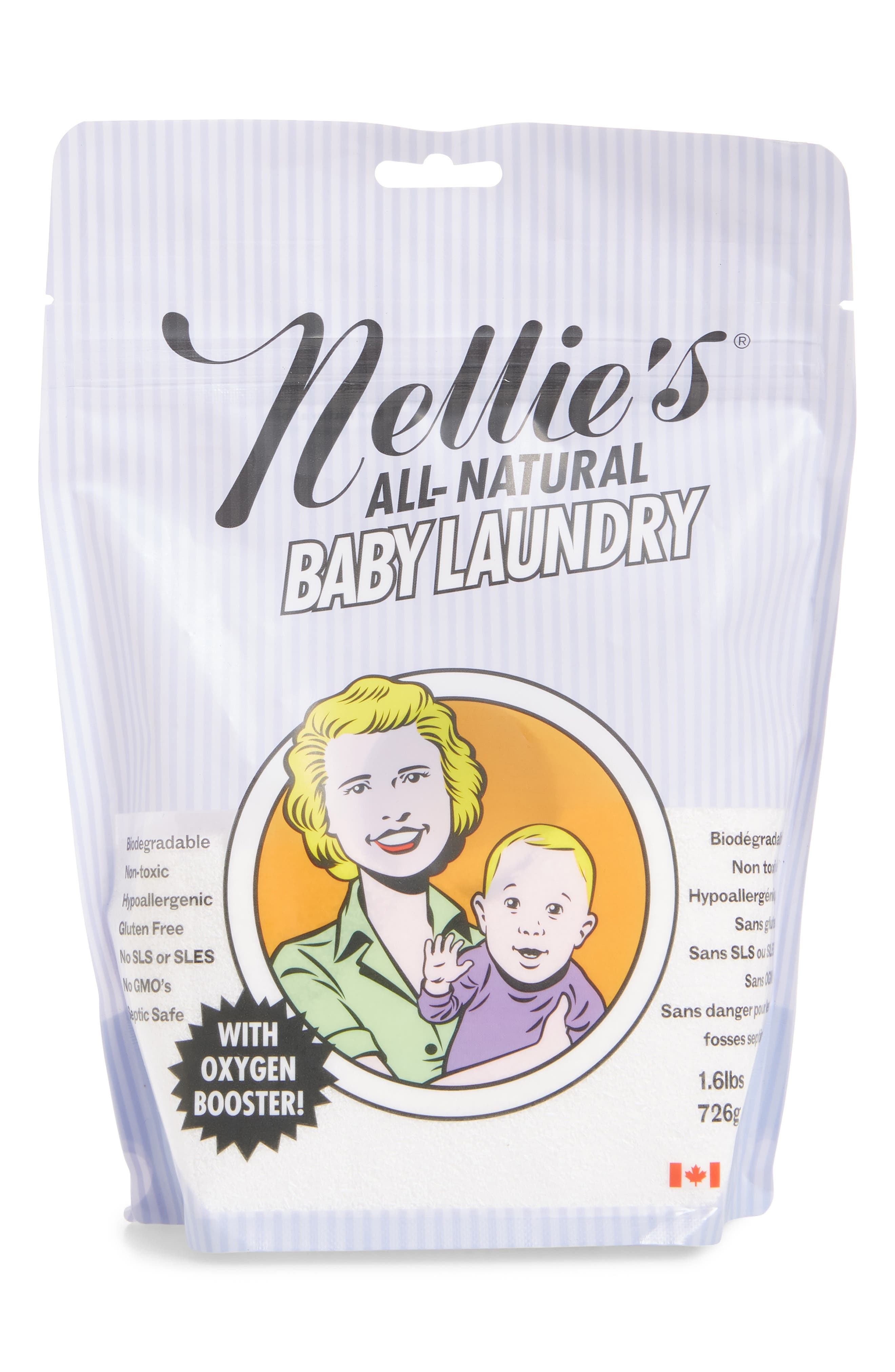 Nellie's All-Natural Baby Laundry Soda Detergent Pouch,                             Main thumbnail 1, color,                             500