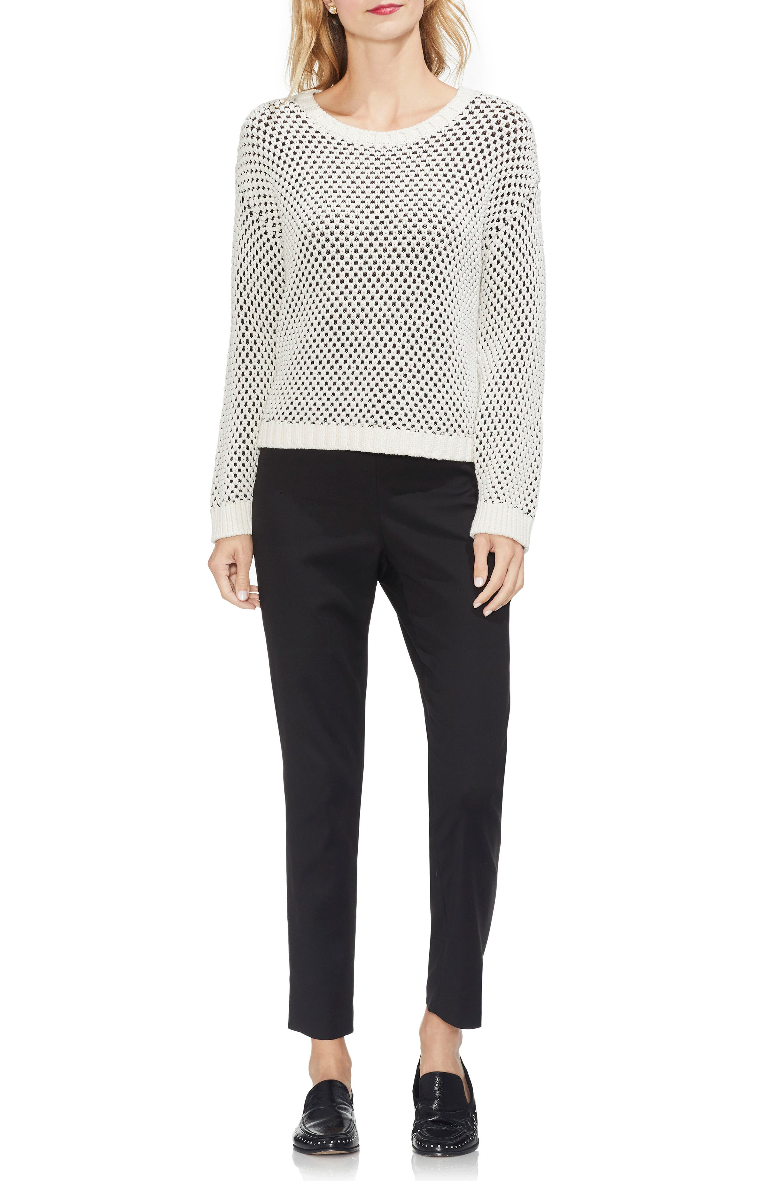 VINCE CAMUTO,                             Textured Stitch Sweater,                             Alternate thumbnail 3, color,                             ANTIQUE WHITE