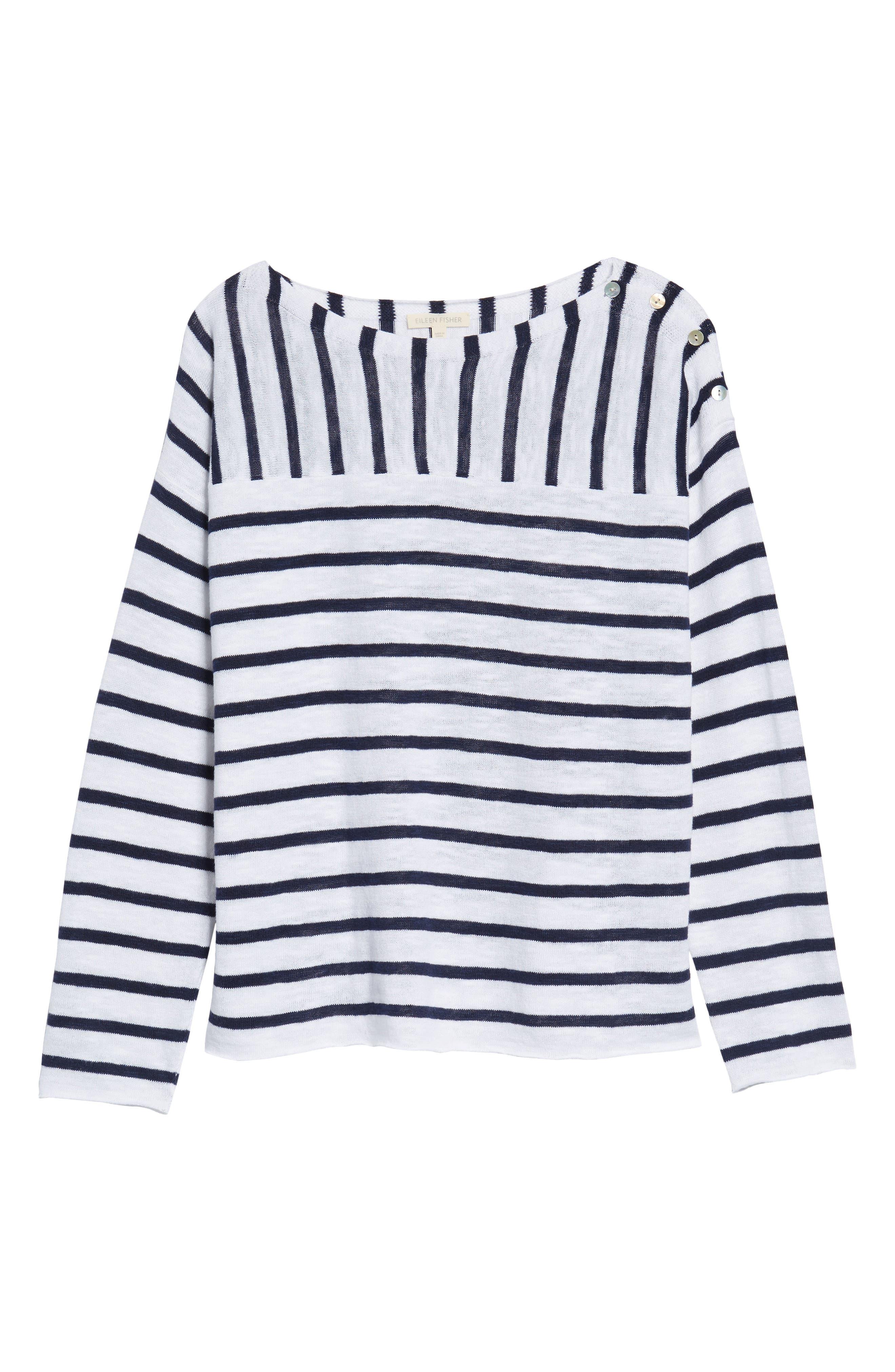 Stripe Organic Linen & Cotton Sweater,                             Alternate thumbnail 6, color,                             143