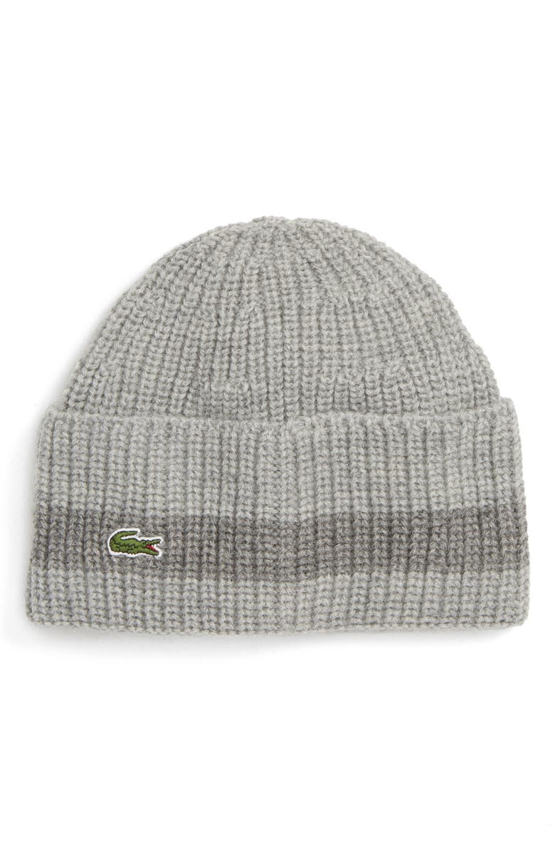 35b82ebb Lacoste Ribbed Wool Beanie - Grey In Chine/ Stone Chine | ModeSens