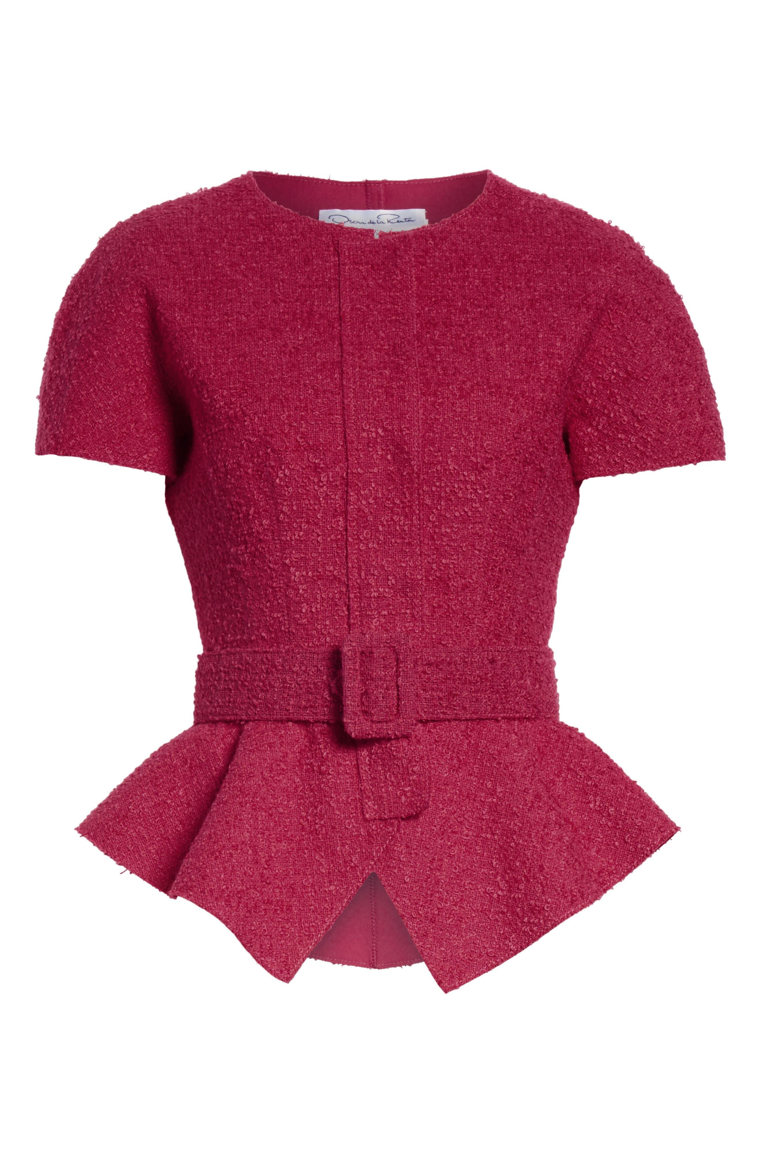 Belted Peplum Wool Blend Tweed Jacket,                             Alternate thumbnail 5, color,                             607