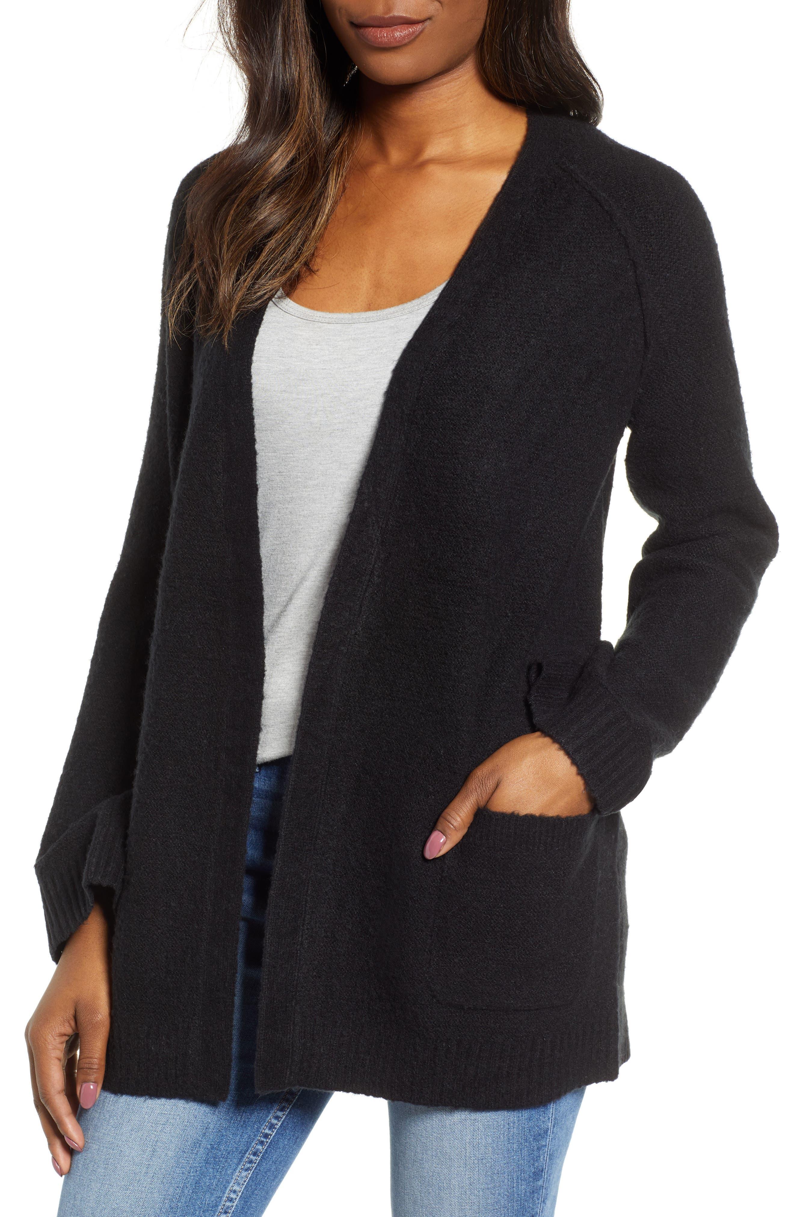 CASLON<SUP>®</SUP> Chunky Stitch Cardigan, Main, color, BLACK