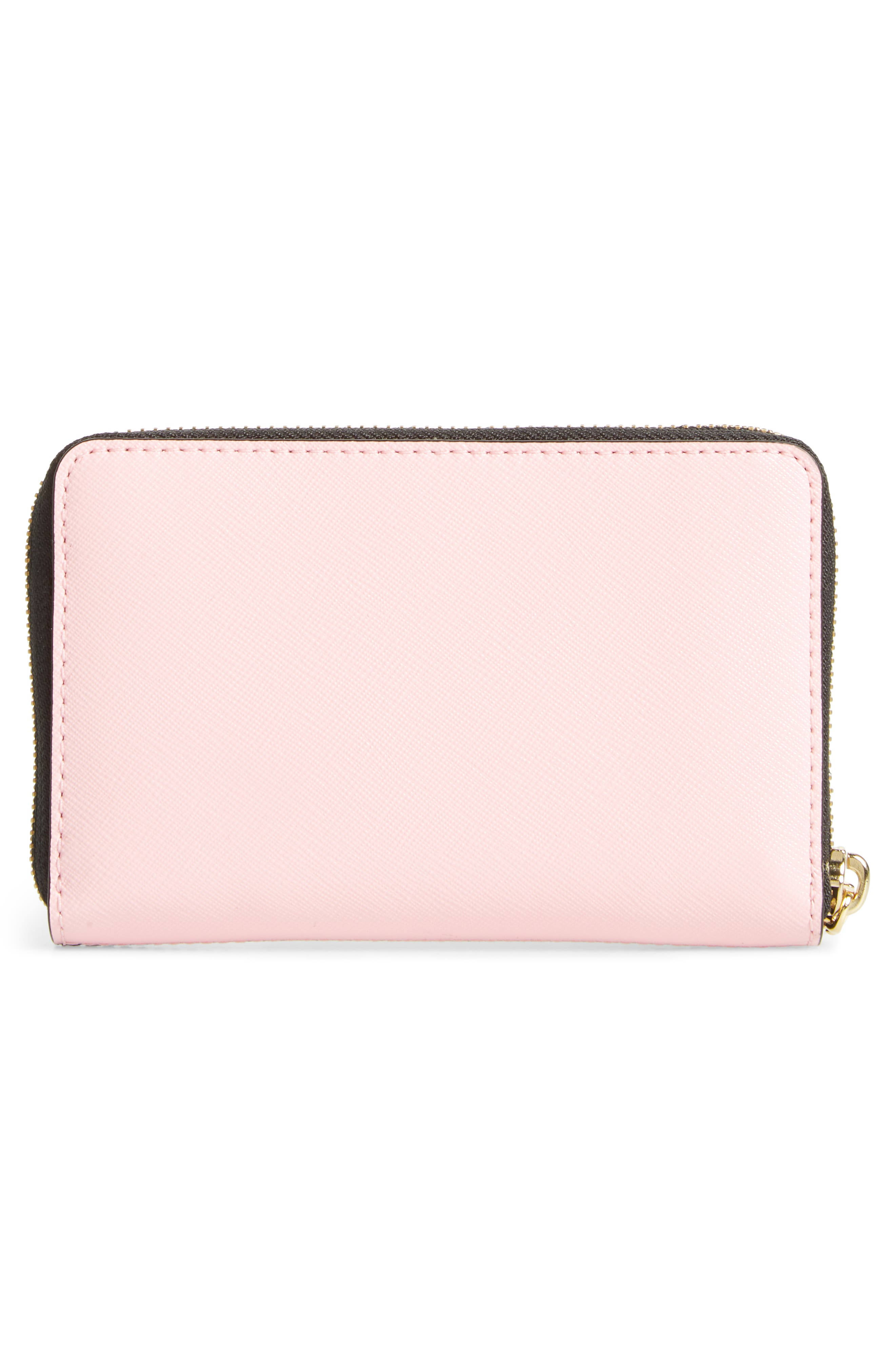 Small Snapshot Leather Zip-Around Wallet,                             Alternate thumbnail 3, color,                             BLACK/ BABY PINK