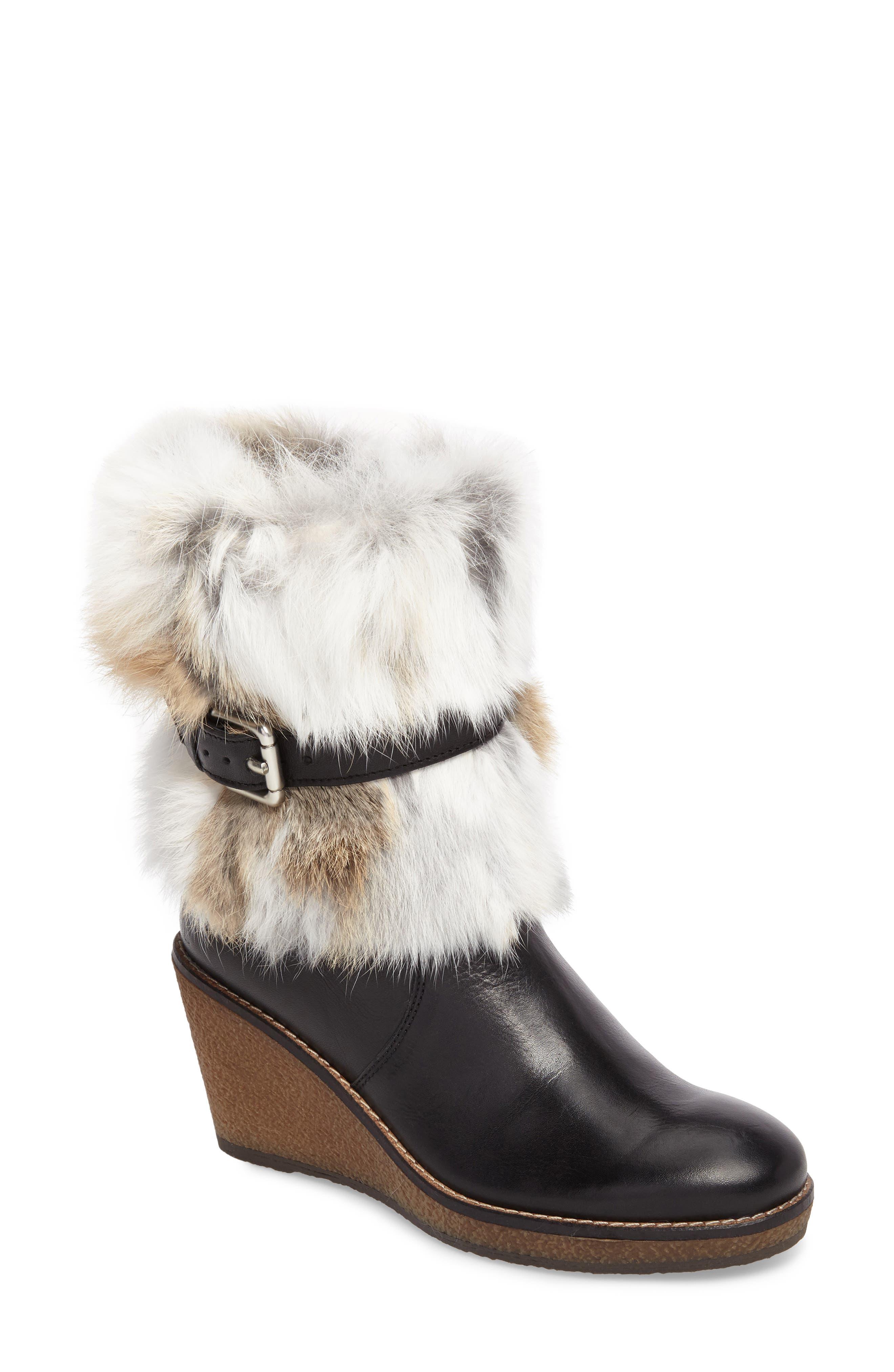 Tasarla Genuine Rabbit Fur Trim Boot,                             Main thumbnail 1, color,                             001