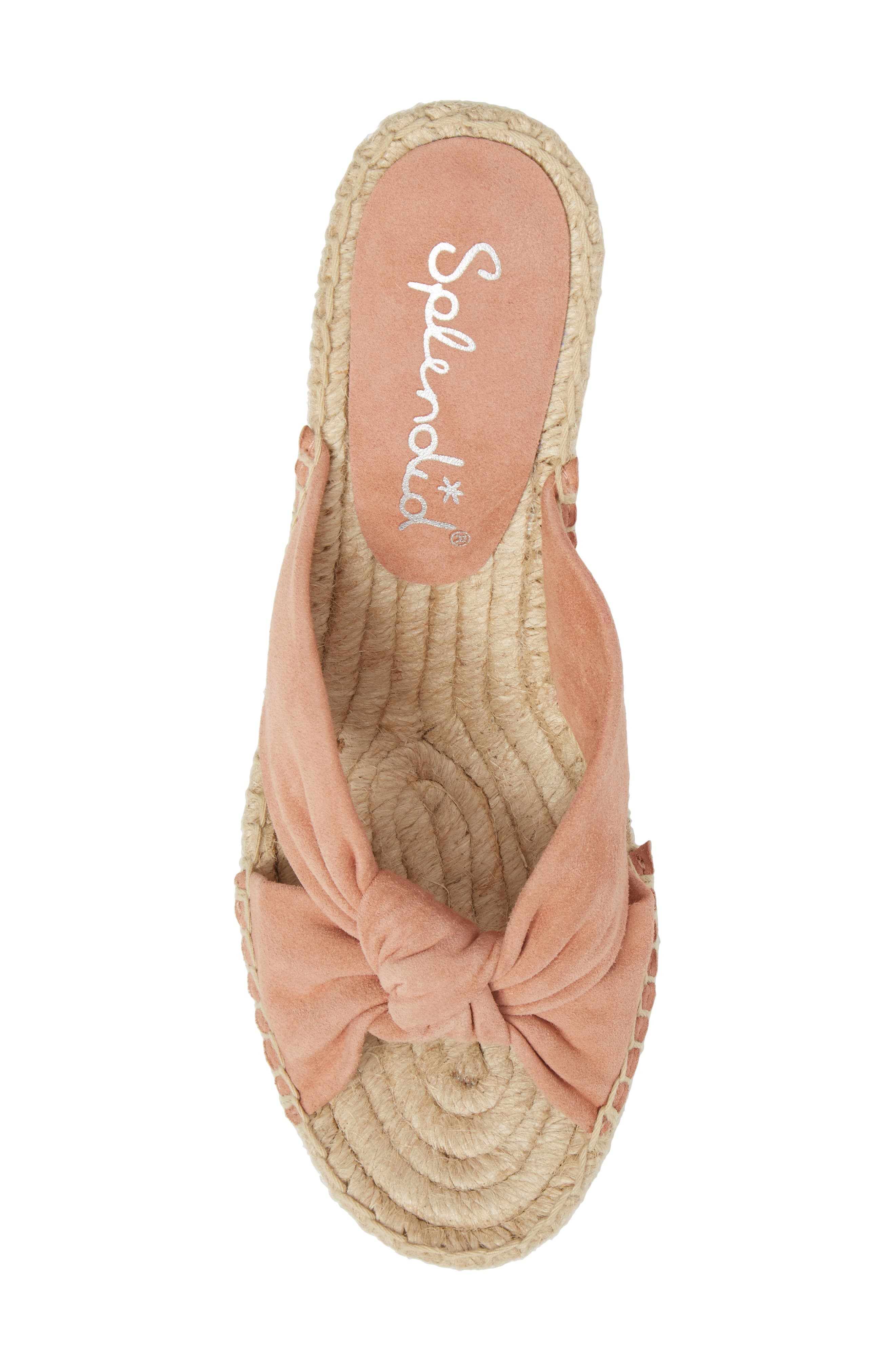 Bautista Knotted Wedge Sandal,                             Alternate thumbnail 5, color,                             DARK BLUSH SUEDE