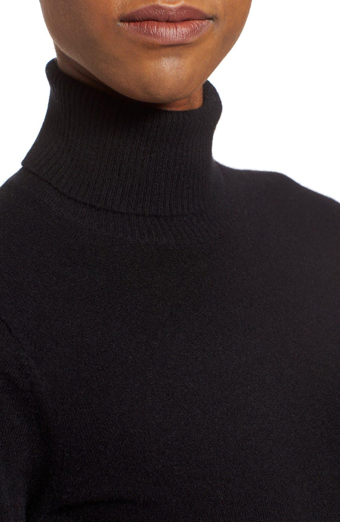 NORDSTROM COLLECTION,                             Cashmere Turtleneck Sweater,                             Alternate thumbnail 2, color,                             001
