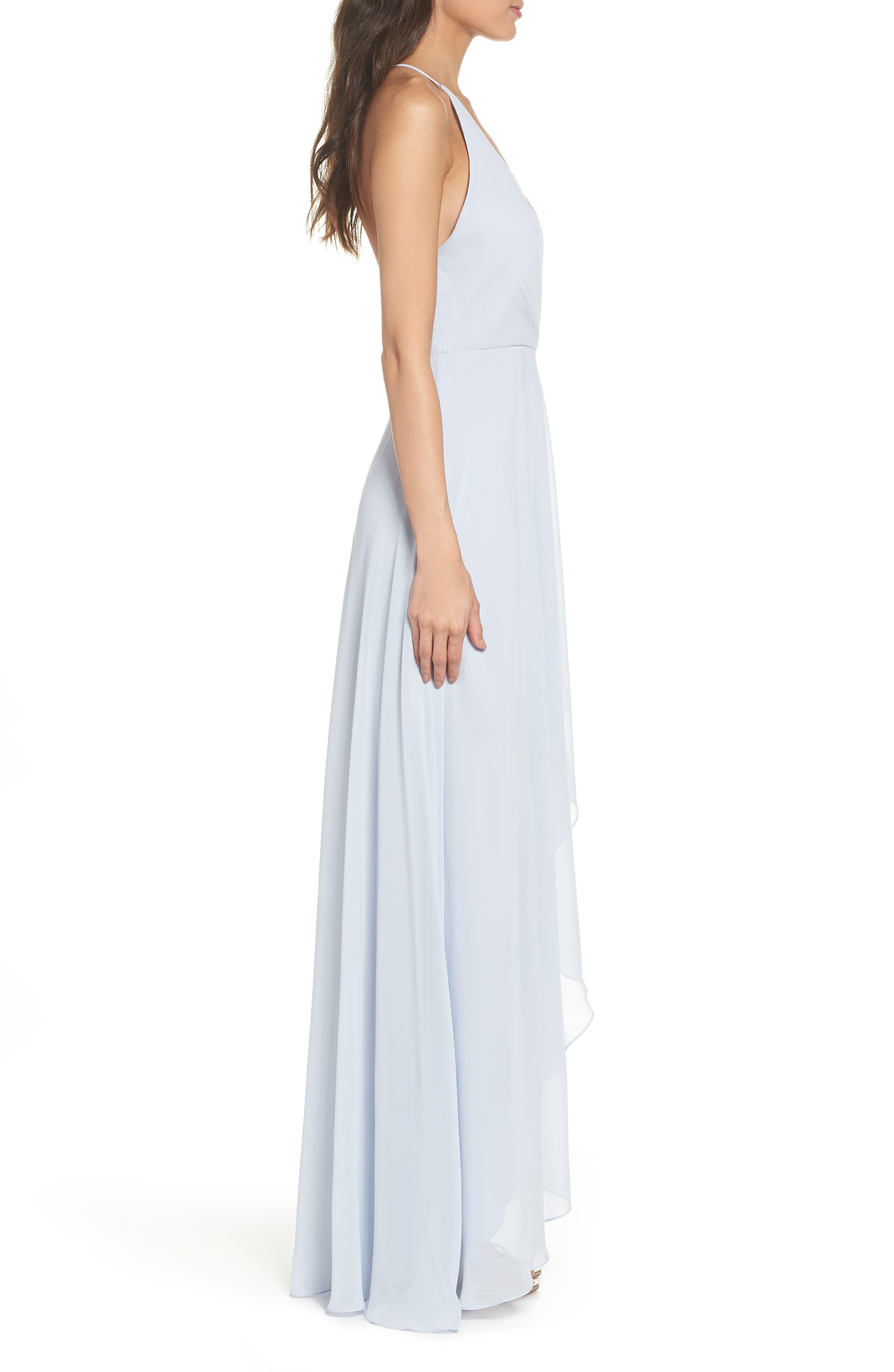 JENNY YOO, Farrah Ruffle Chiffon Gown, Alternate thumbnail 4, color, WHISPER BLUE