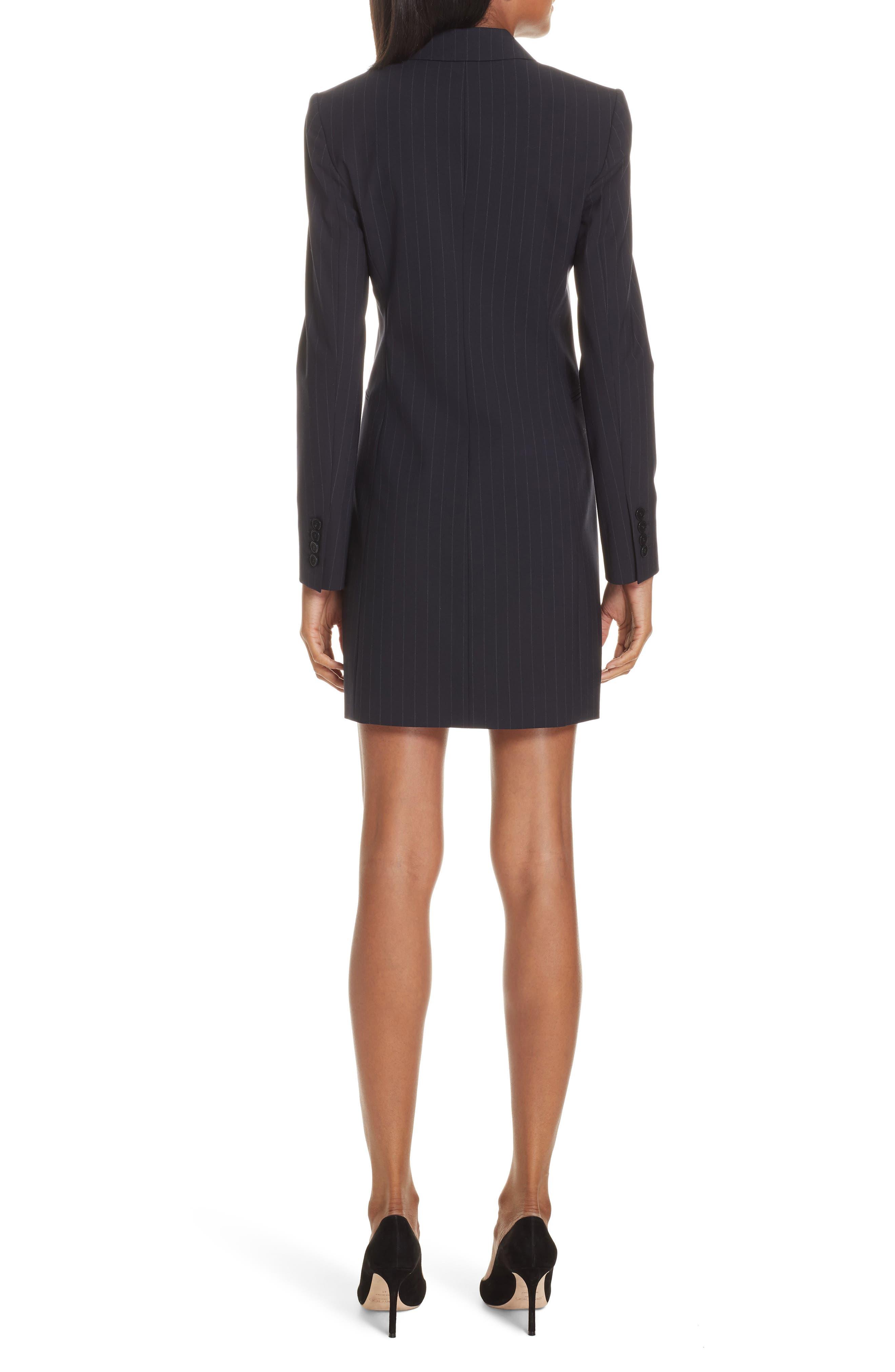 Pinstripe Blazer Dress,                             Alternate thumbnail 2, color,                             DEEP NAVY/ GREY